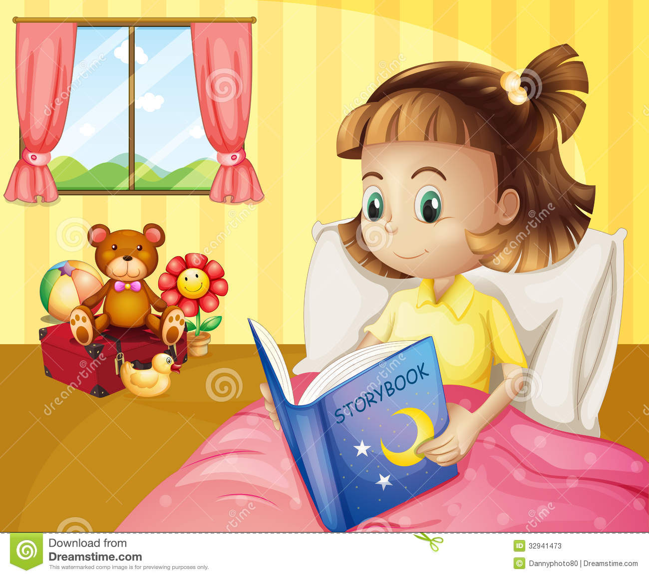 Small girl reading a storybook inside her room stock photos image