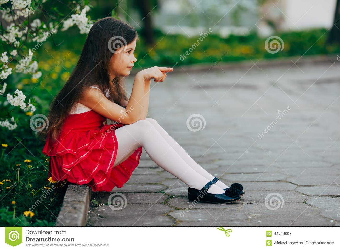 Sad Girl With Pigtails Under The Tree Stock Photo - Image: 67457561