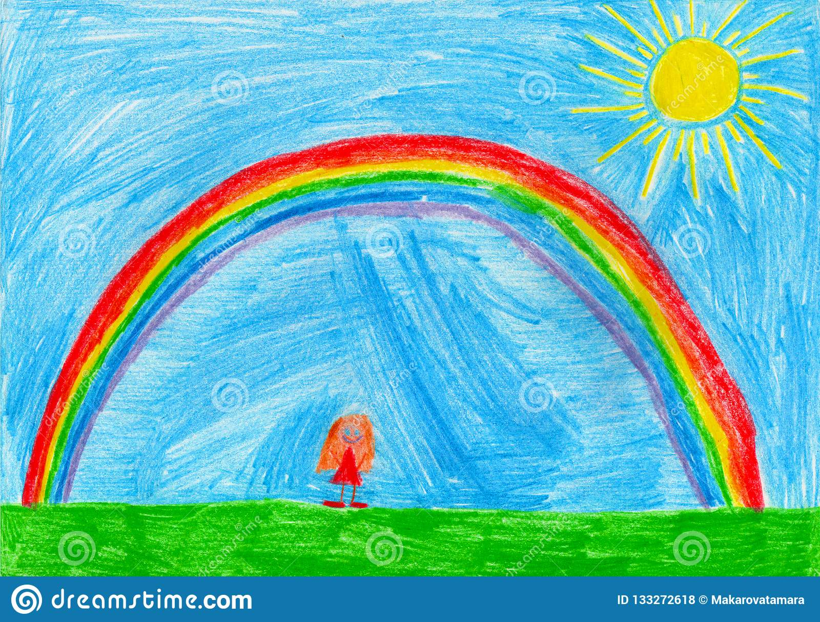 Small girl under the rainbow, child`s drawing