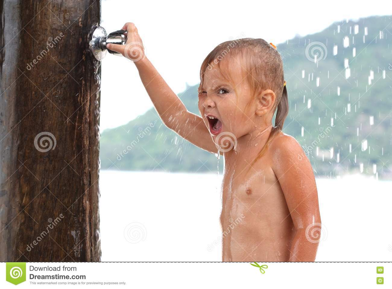 Small girl under shower stock photography image 21419582