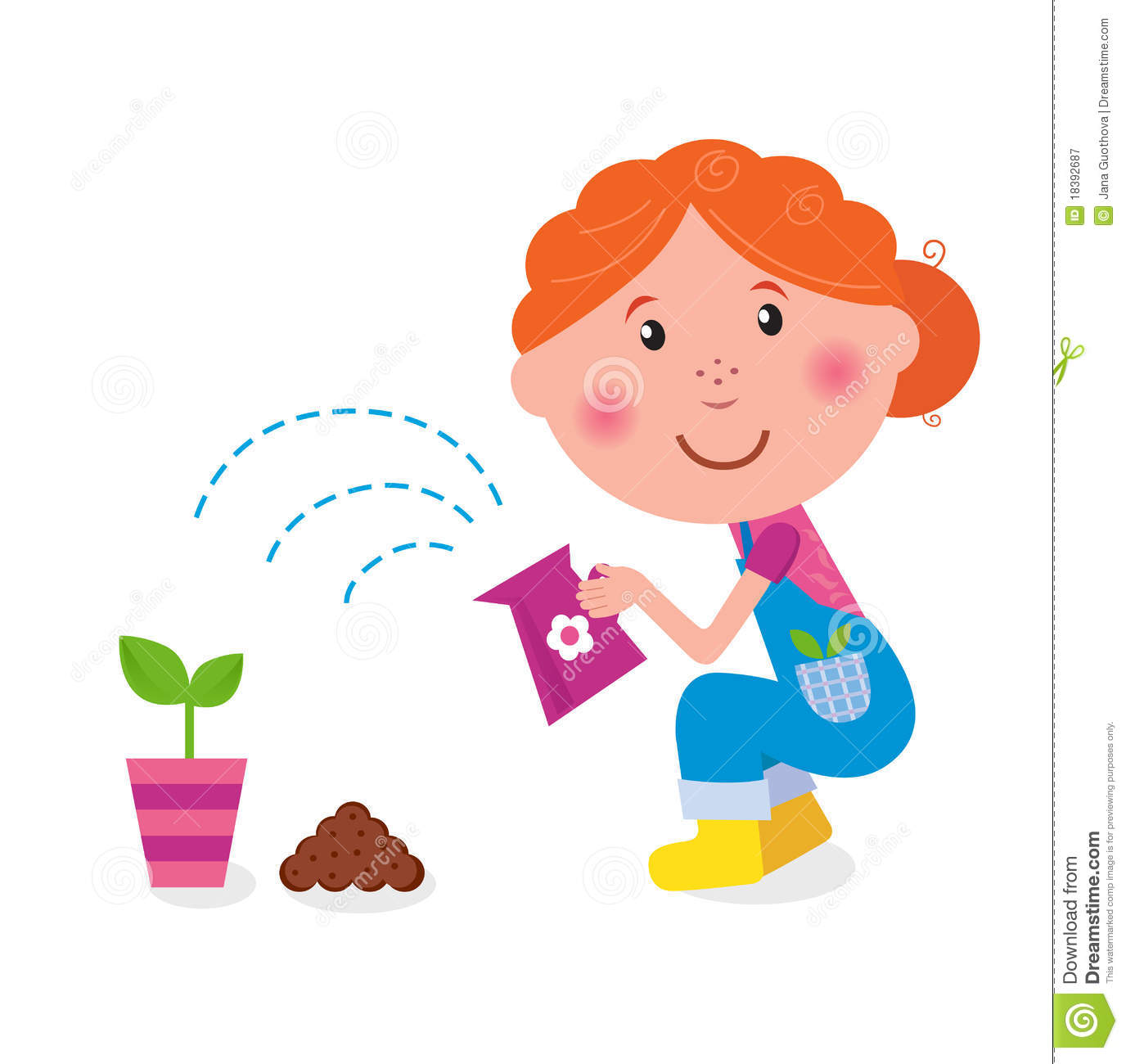 Small Girl Is Watering Plant In The Garden Royalty Free ...