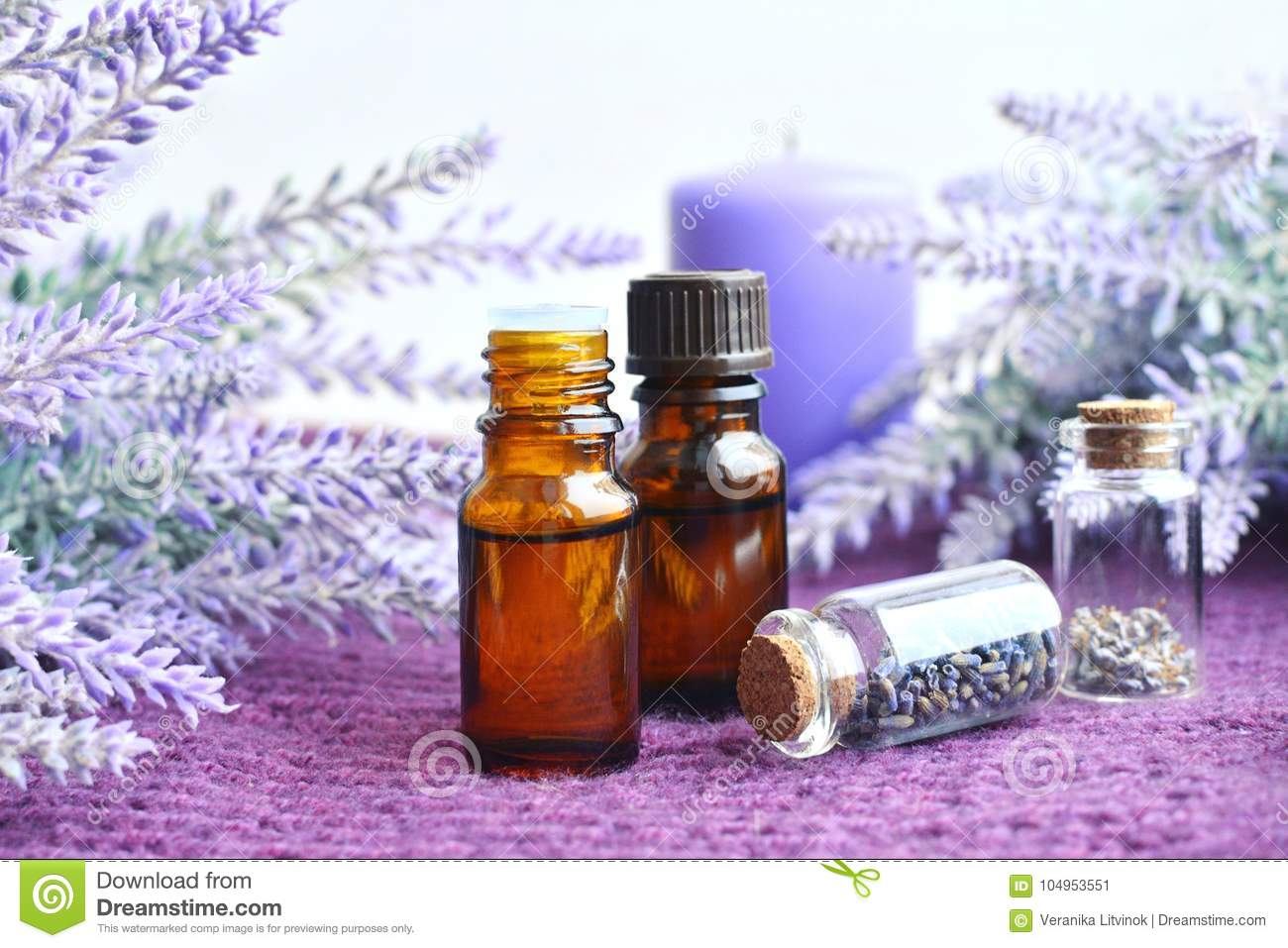 Bottles Of Essential Lavender Oil With Flowers Stock Image Image