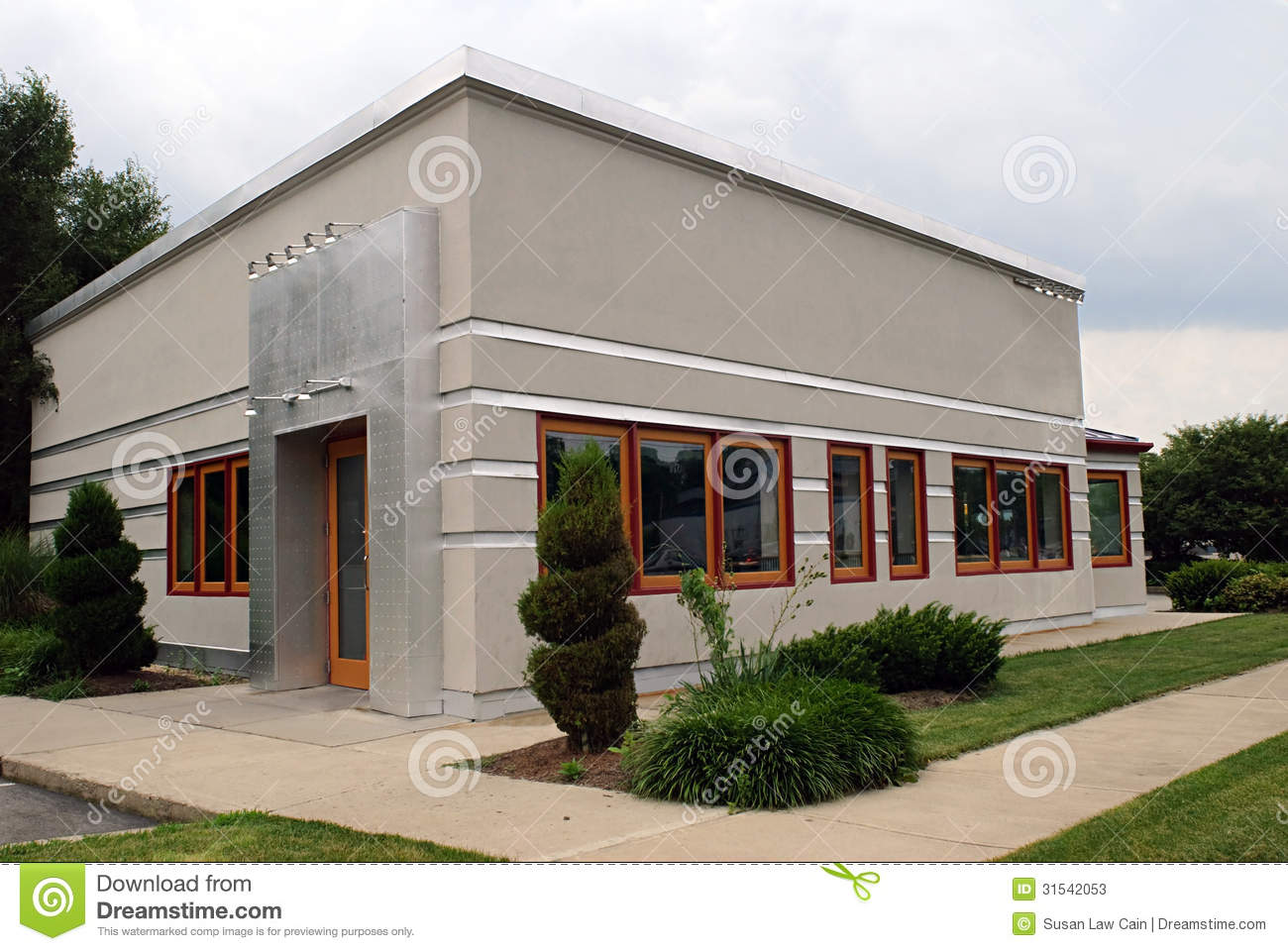 Technology Management Image: Small Gray Business Building Stock Photos