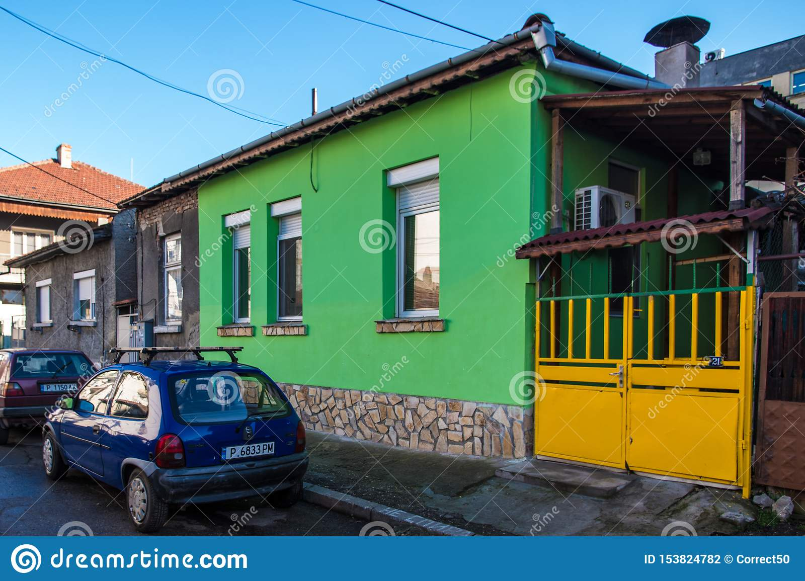 Small Green House Editorial Photography Image Of Yellow 153824782