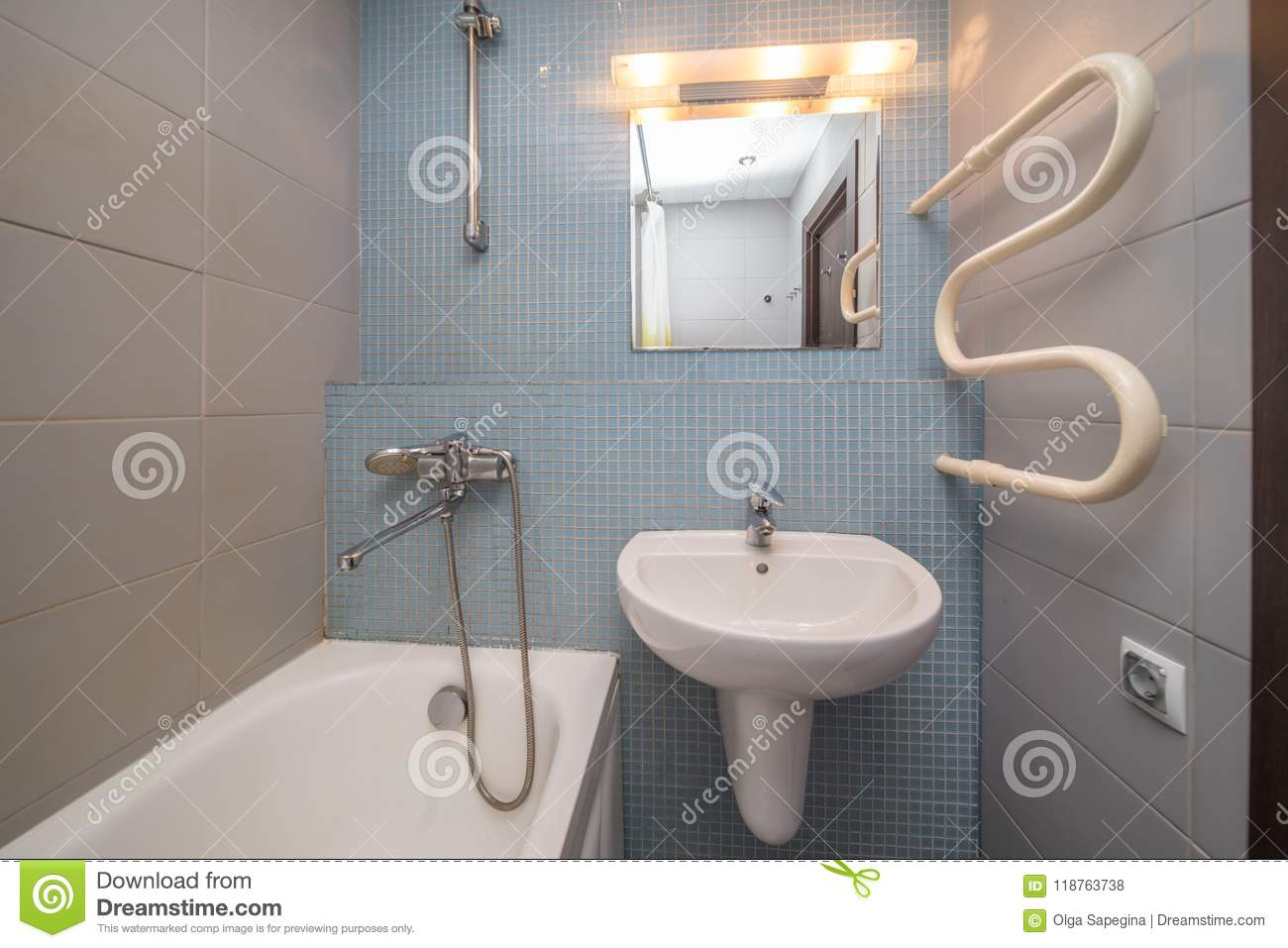 Small grey bathroom stock photo. Image of shower, modern - 118763738