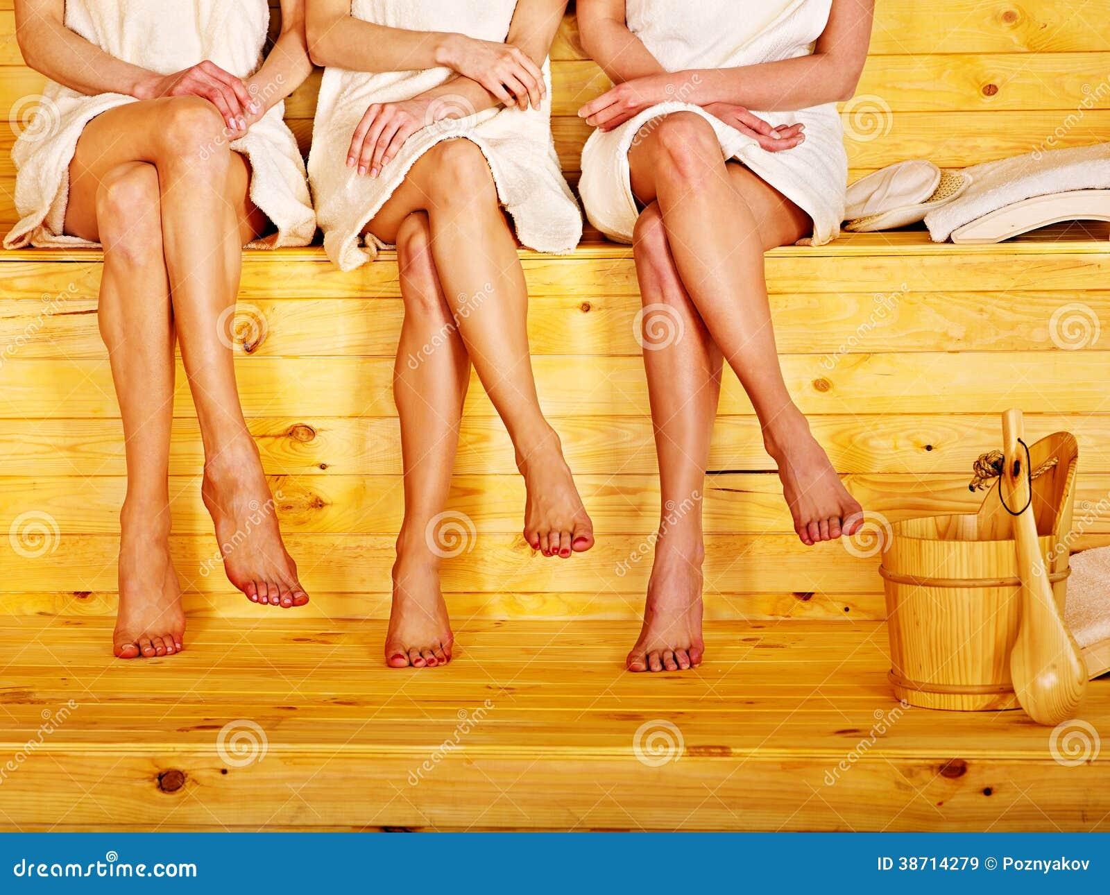 Small group girl in sauna.