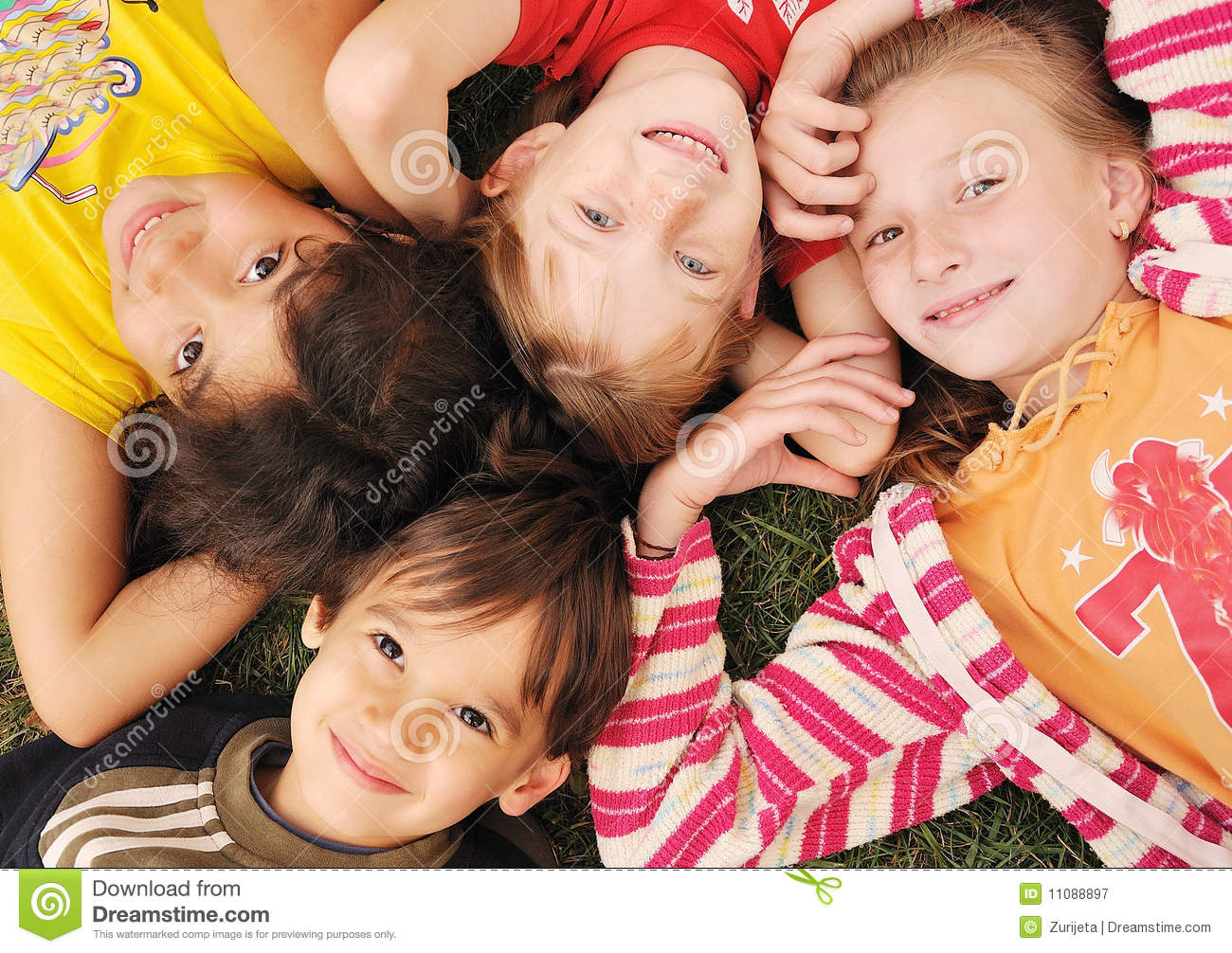 small group of happy children outdoor - Small Children Images