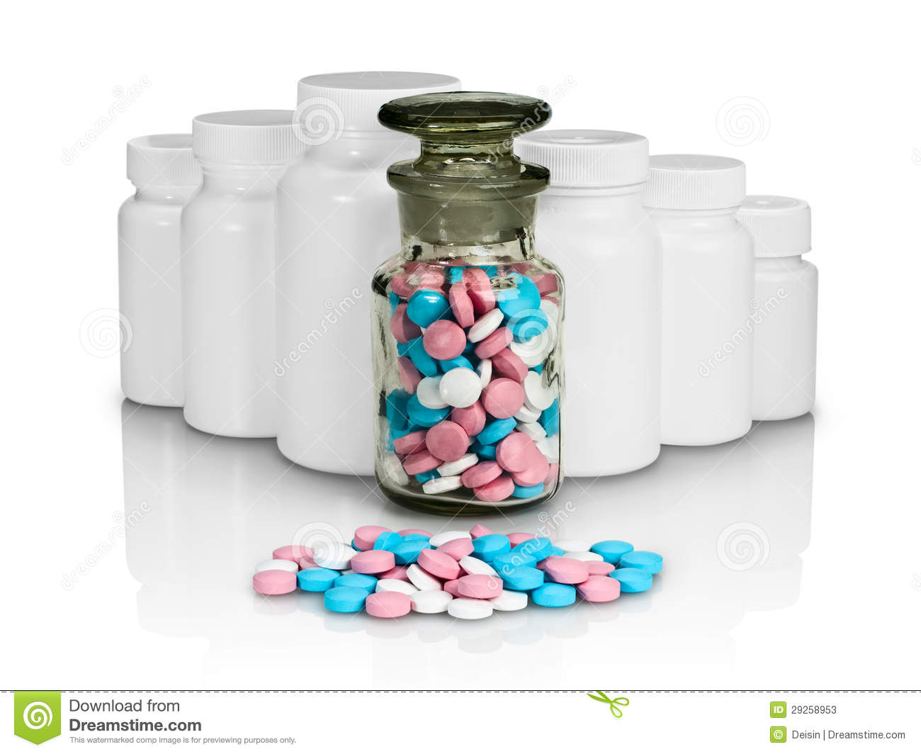 Small group a pill against small bottles with pills stock for Small pill bottles