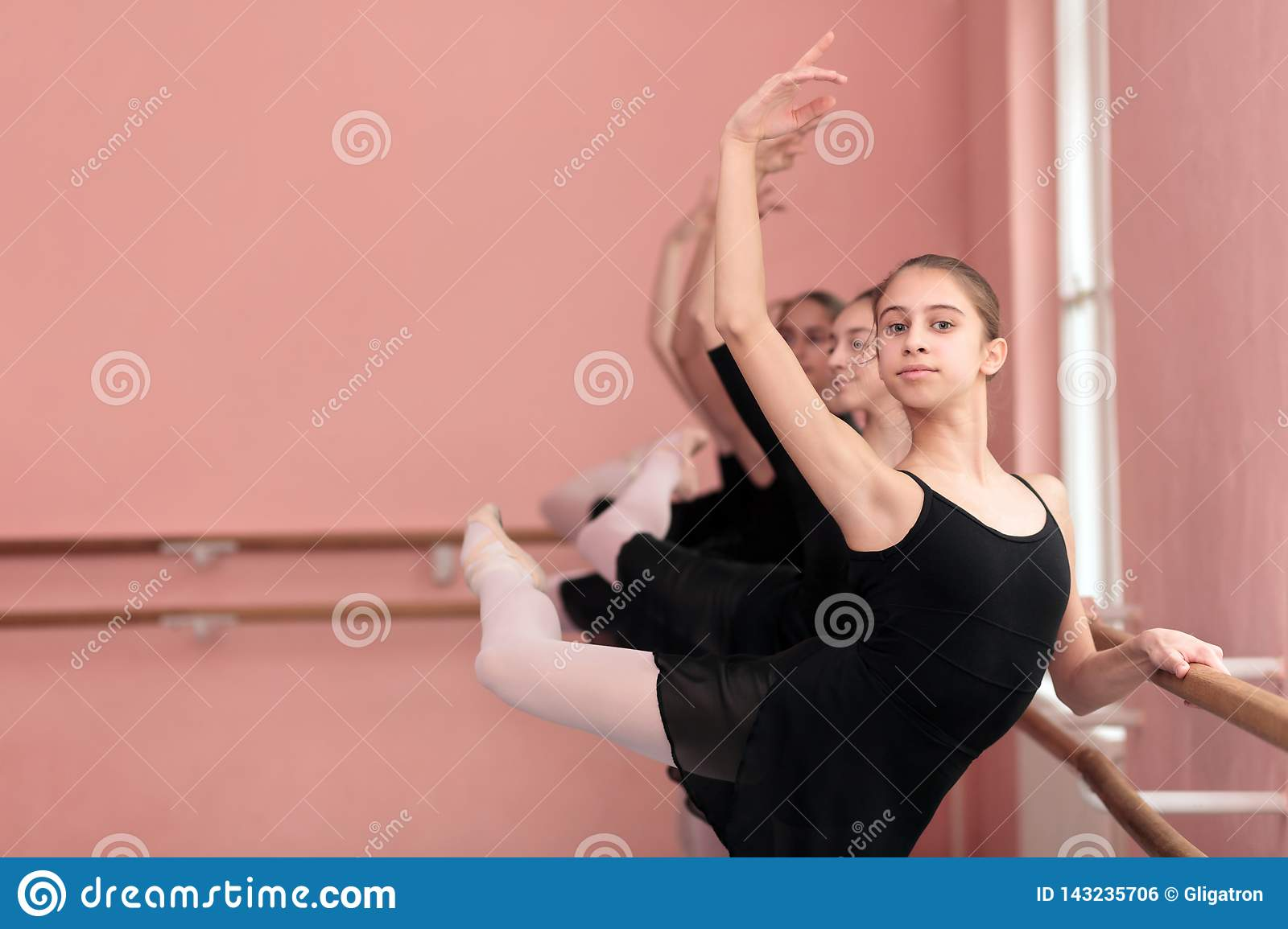 Small group of teenage girls practicing classical ballet
