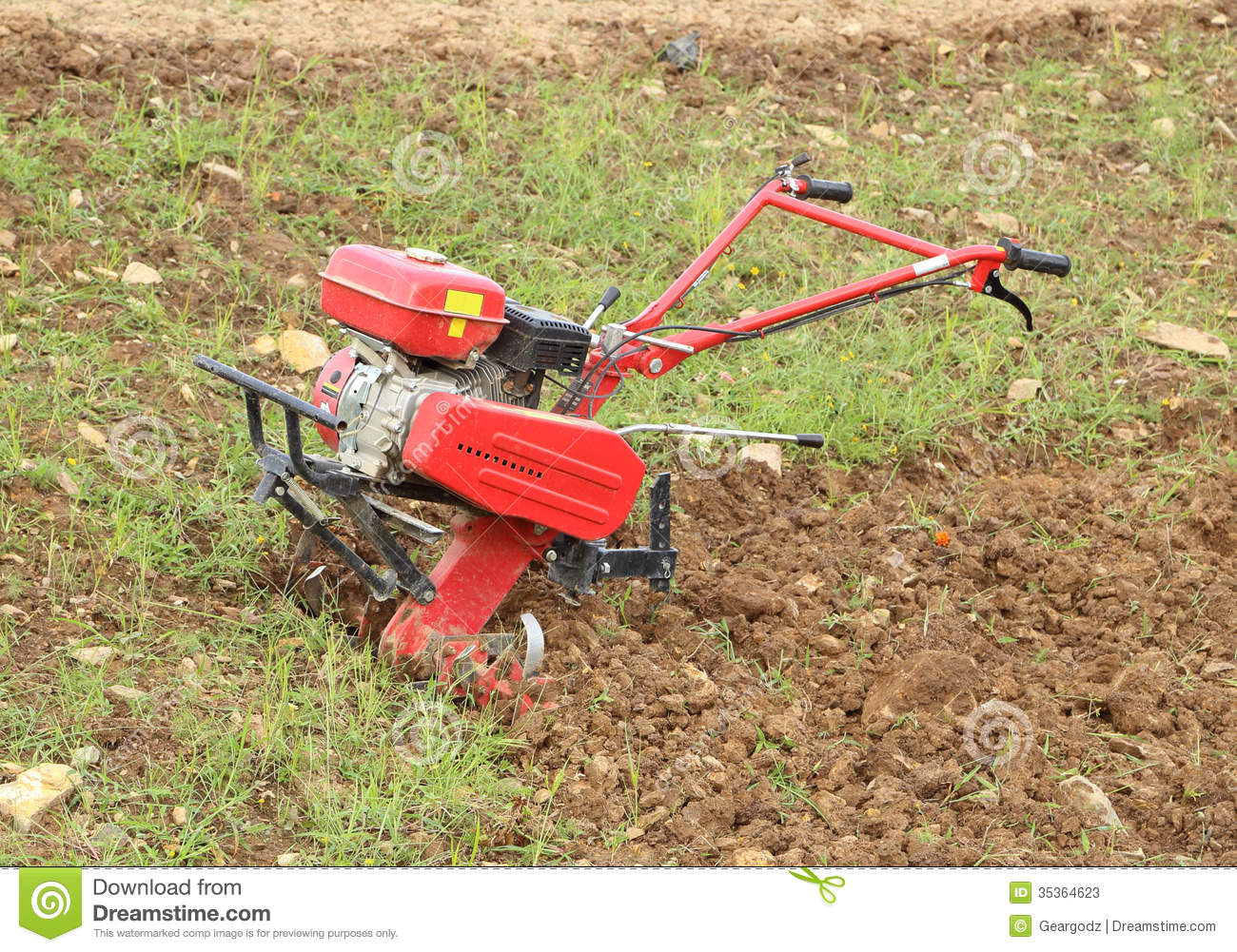 Small Hand Tractor Stock Image Image Of Motorized Farmer