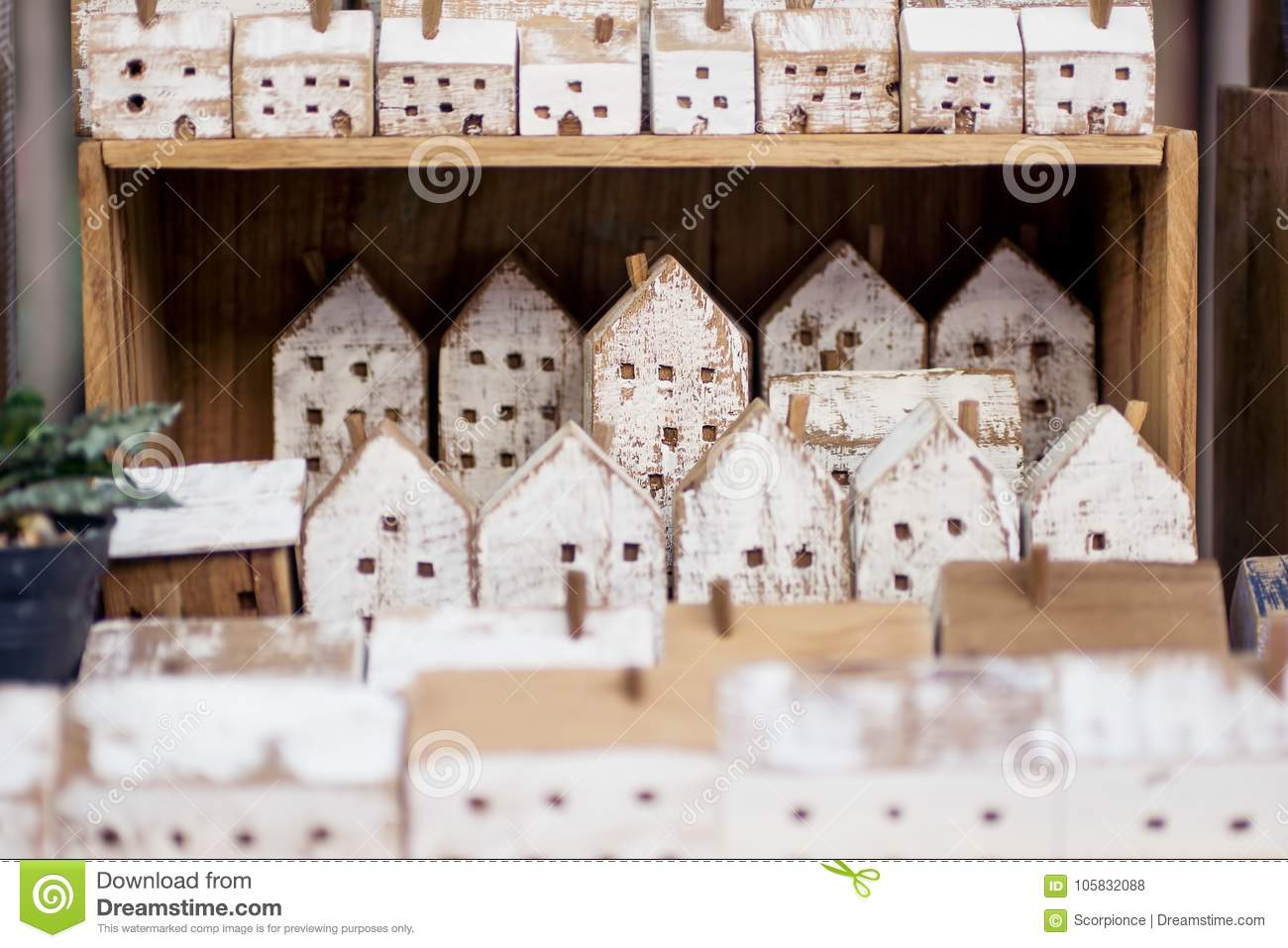 Small Handmade Wooden Houses In A Row On Store Shelf Craft Home