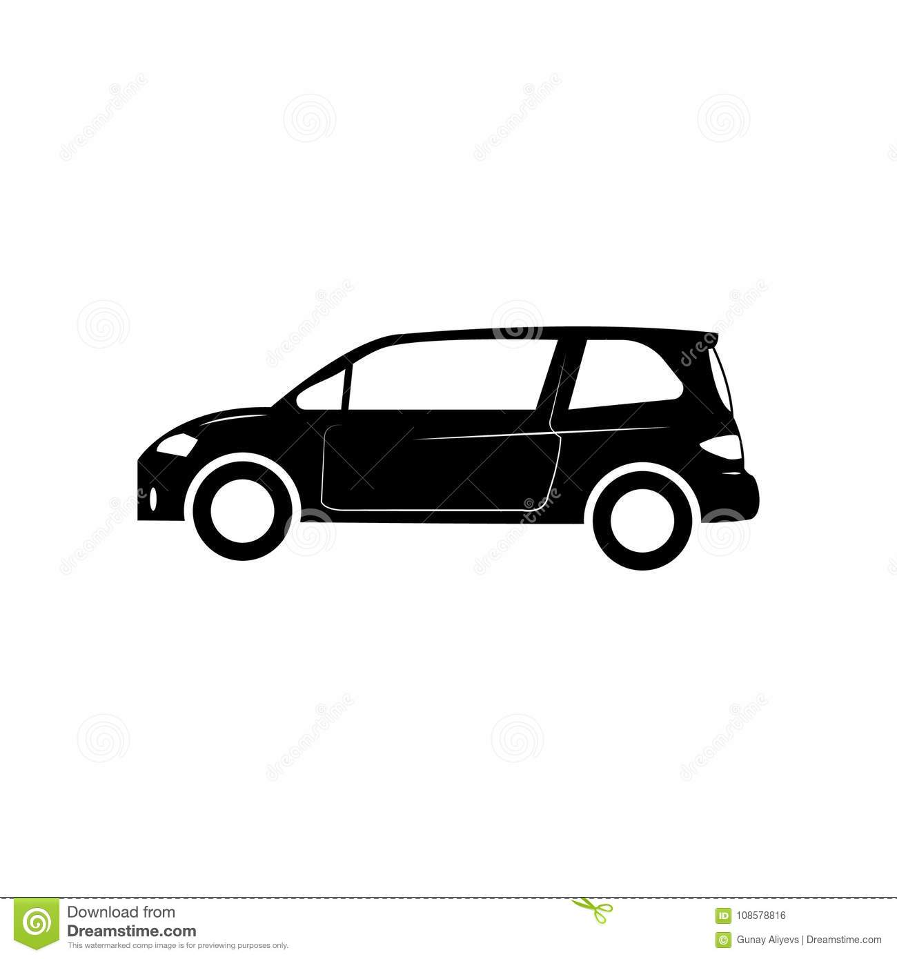 Small Hatchback Turbo Cars: Small Hatchback Icon. Car Type Simple Icon. Transport