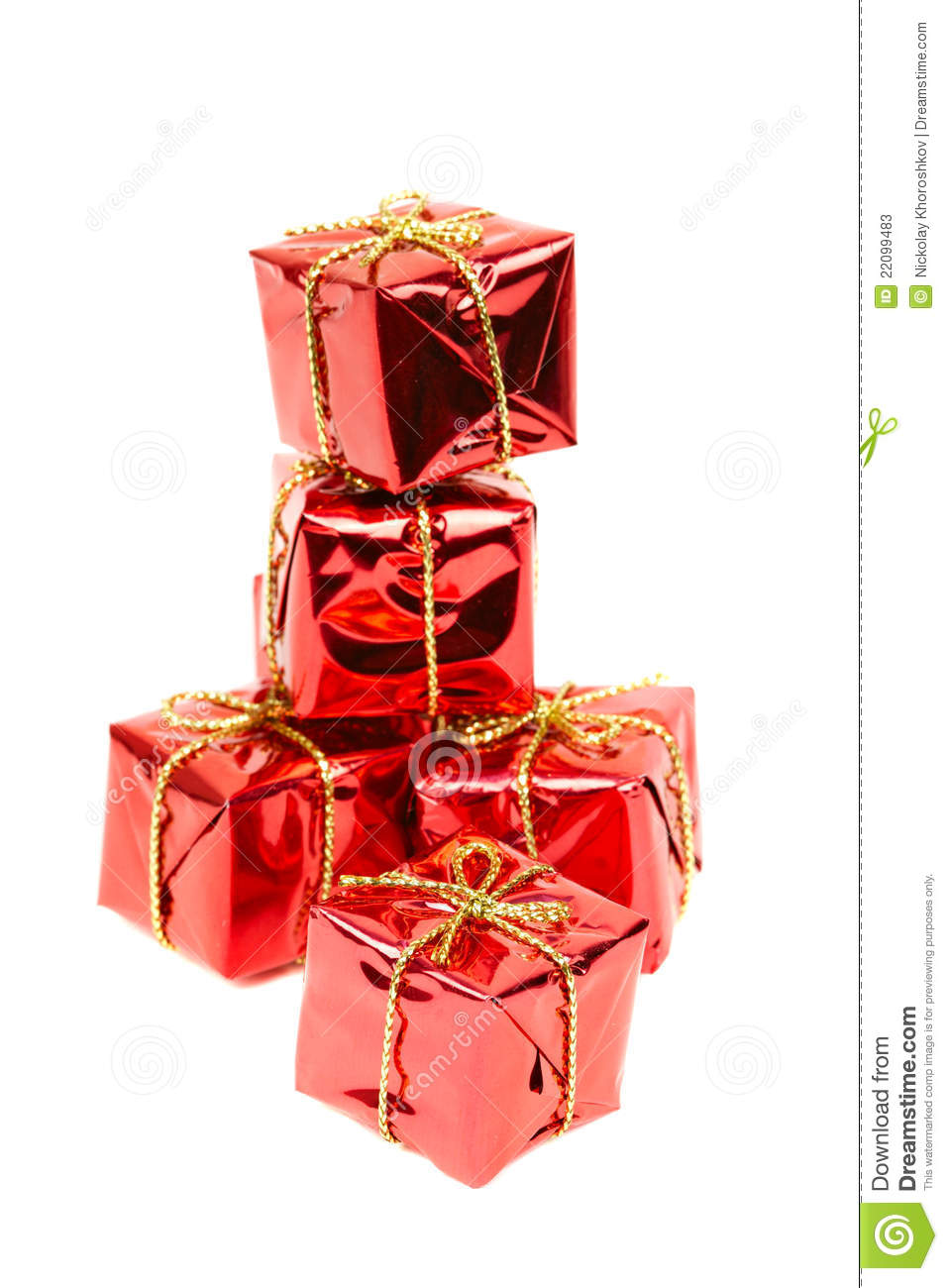 Small holiday gift boxes stock image of isolated
