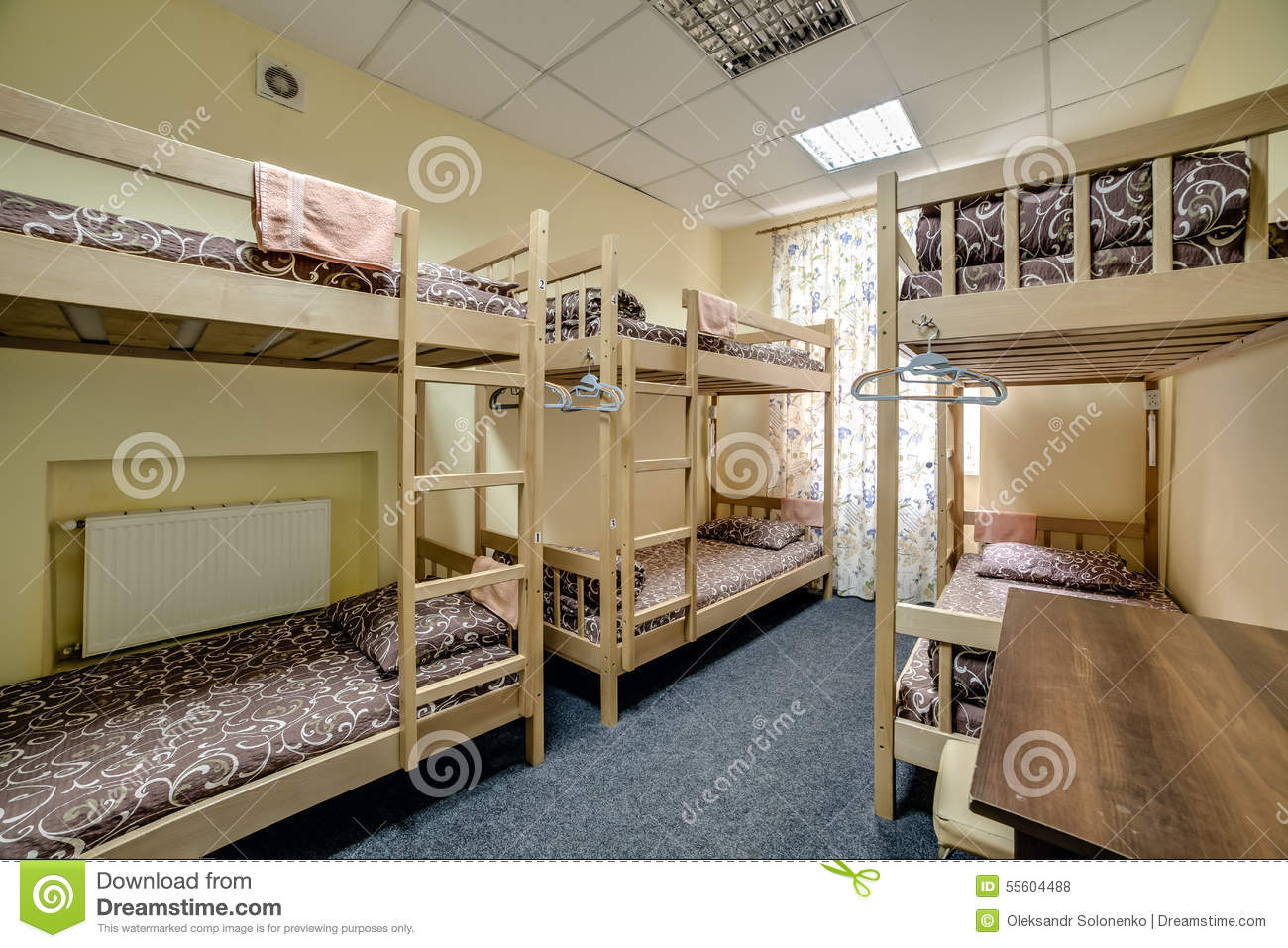 Small Hostel Room With Bunk Beds Stock Photo Image 55604488