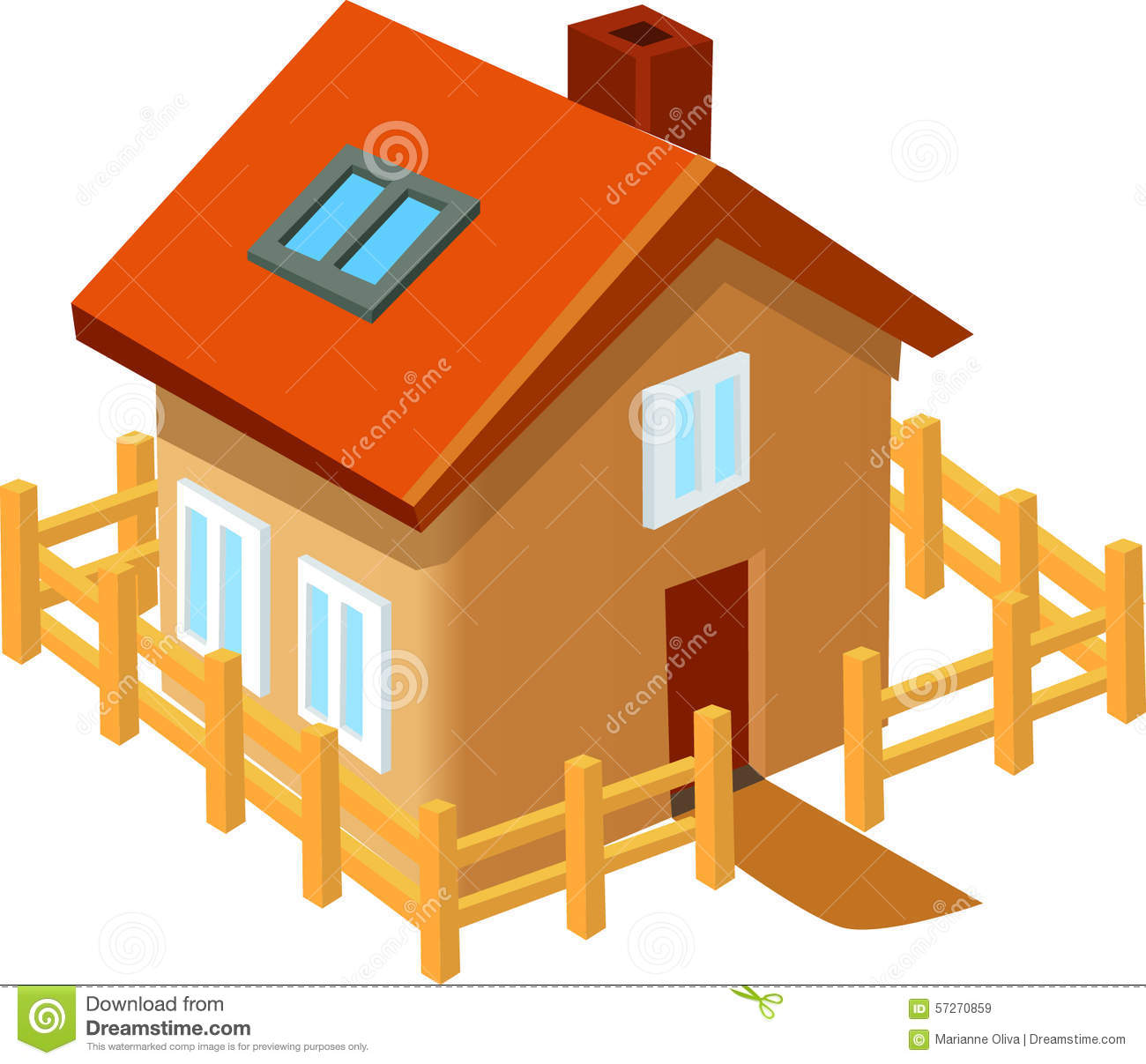 Tiny Home Designs: Small House Building Fence Stock Illustration