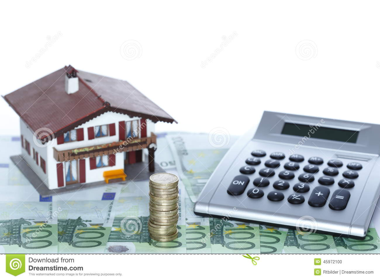 A Small House With Calculator Stock Photo Image 45972100