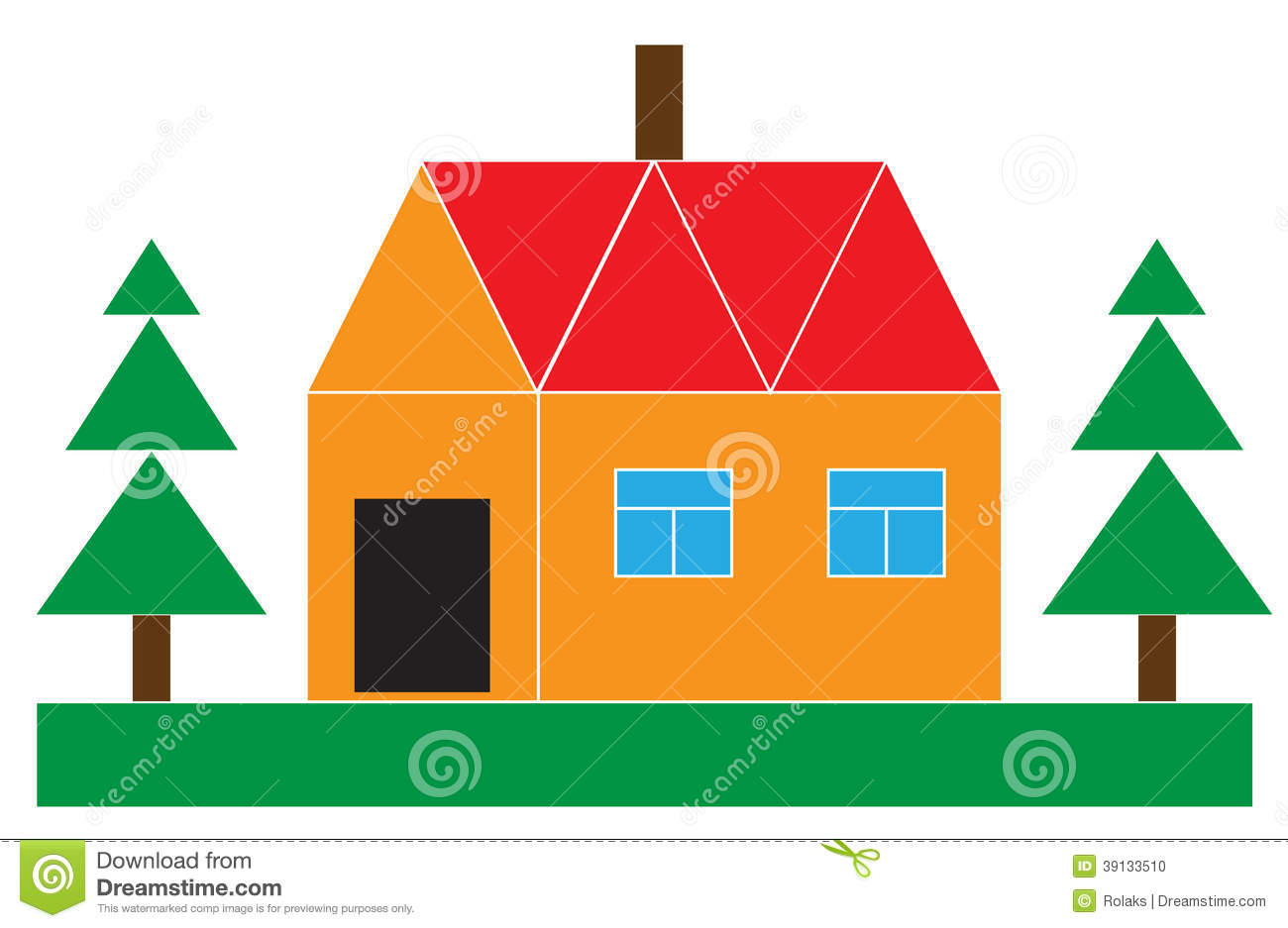 Small house with the firs stock vector image of housing for Different shapes of houses