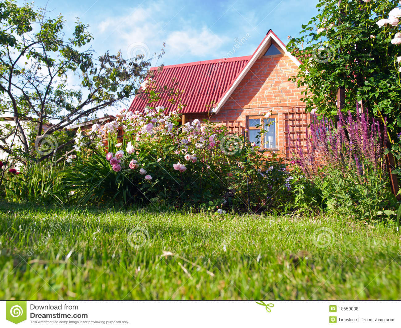 Astounding Small House In A Flower Garden Royalty Free Stock Photos Image Largest Home Design Picture Inspirations Pitcheantrous