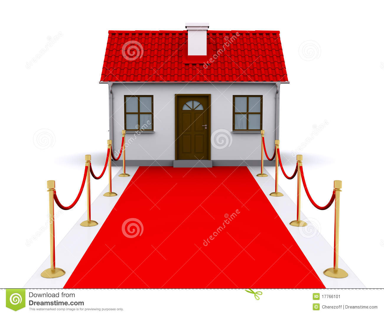 Unique Home With Red Carpet Driveway To The House Stock Vector  JH16