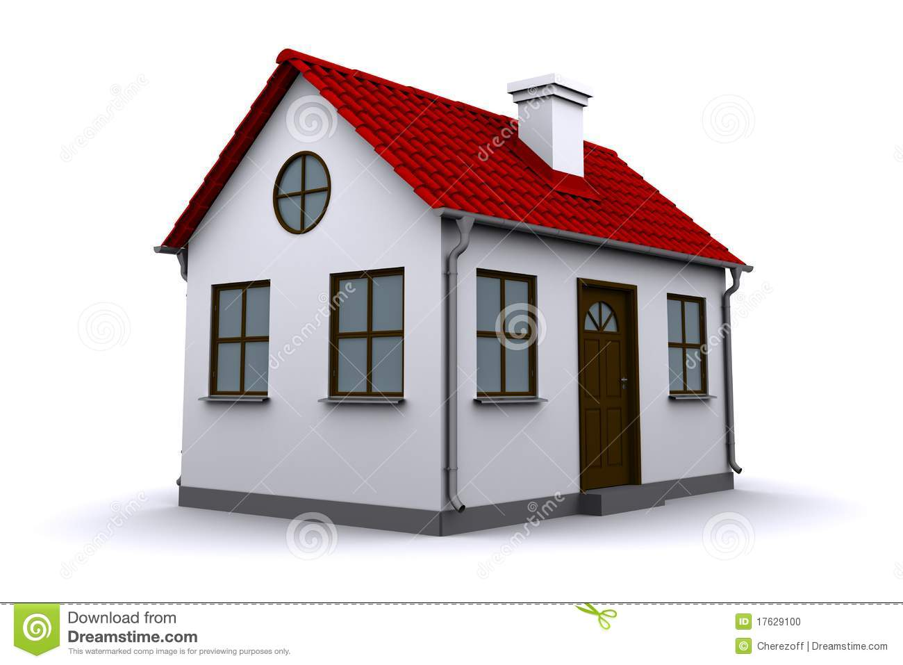A small house with red roof stock illustration image for Cupola on house