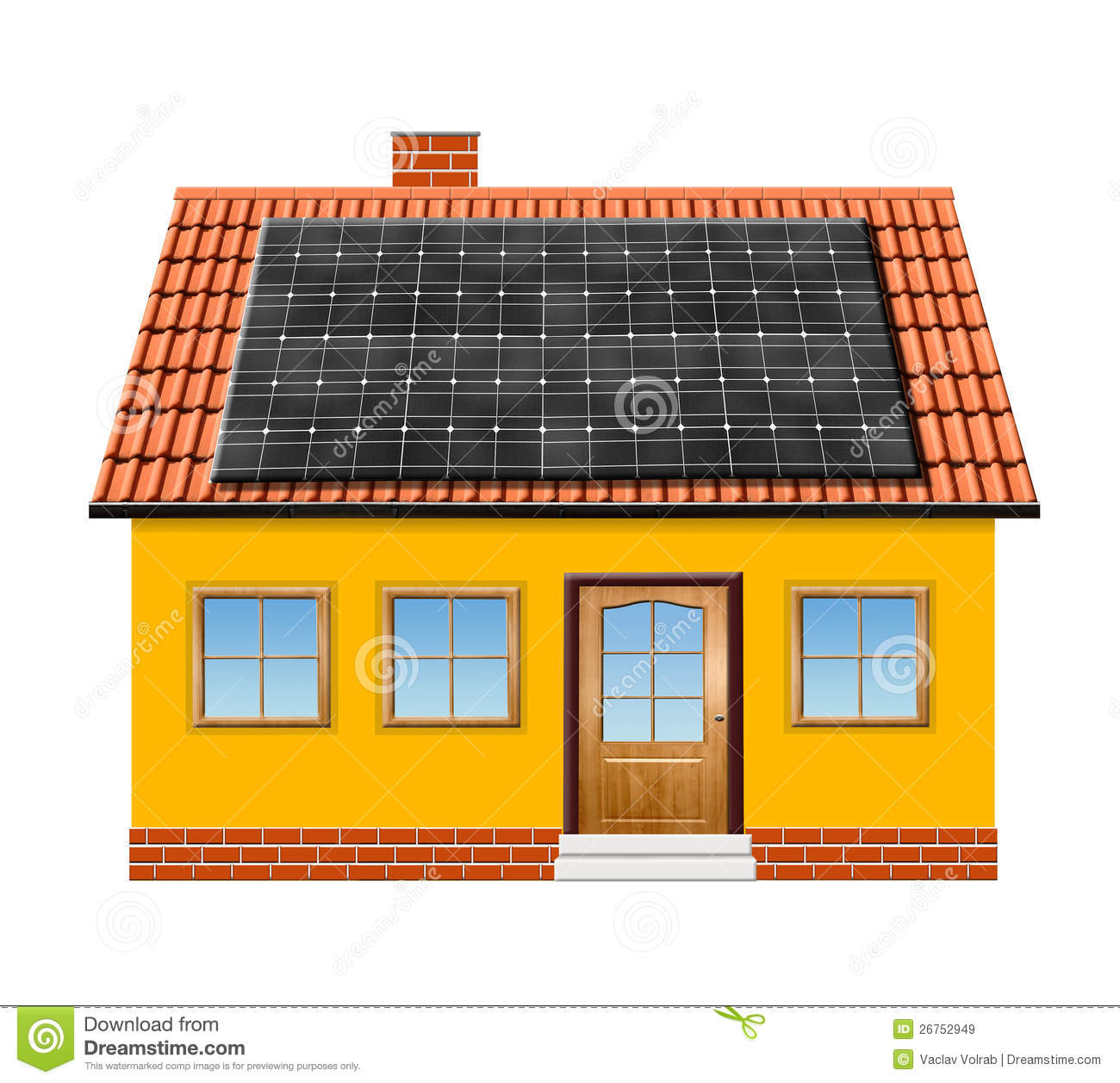 Small House With Solar Panel Stock Illustration Illustration Of