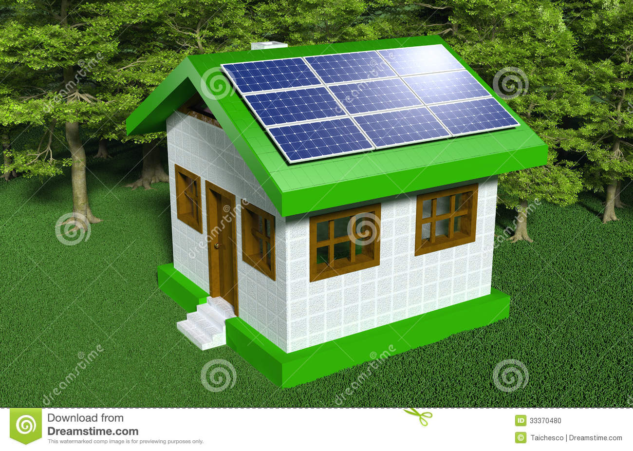 Small House With Solar Panels Stock Illustration Illustration Of