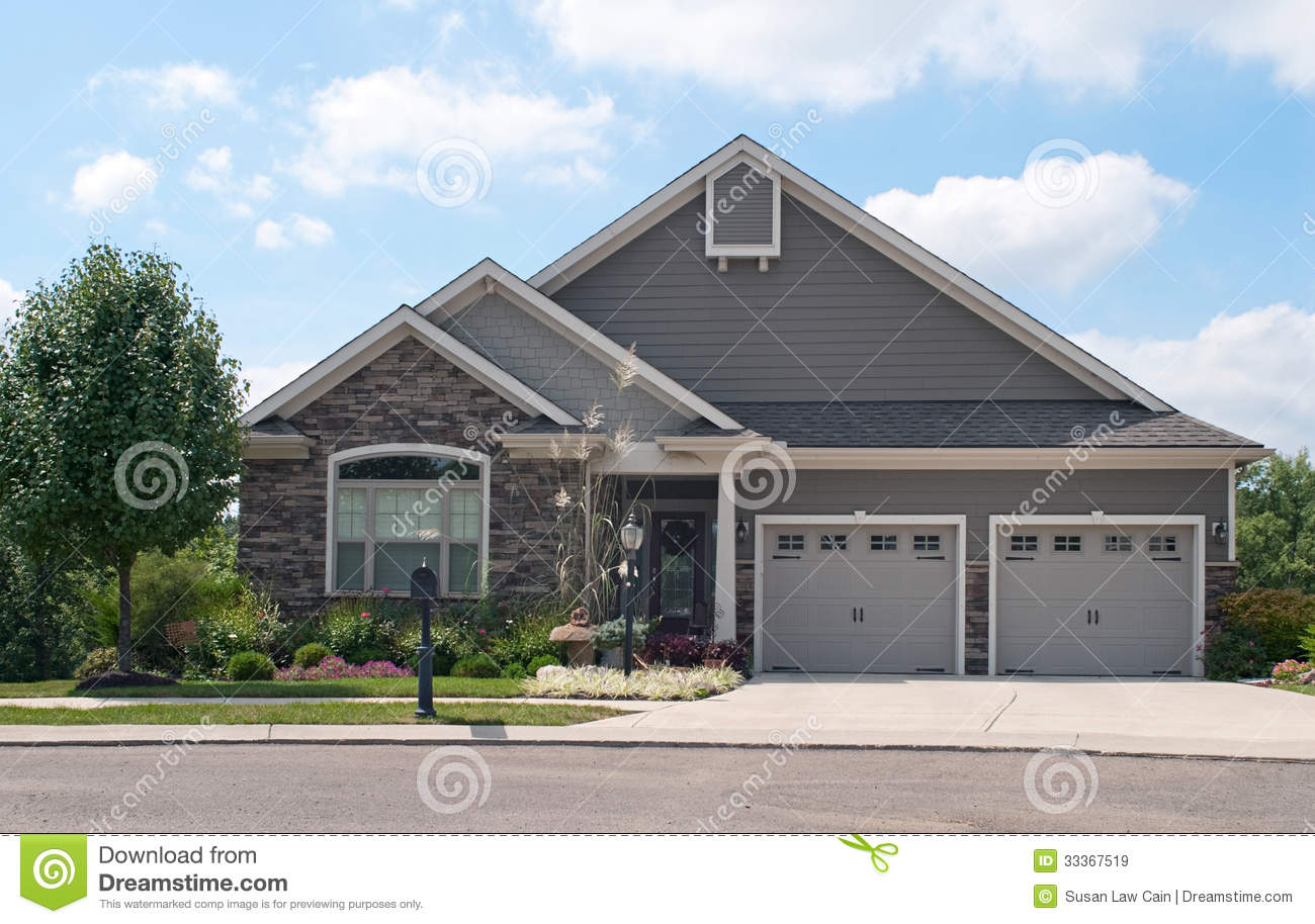 Small house with two car garage stock image image of for Small house plans with 2 car garage