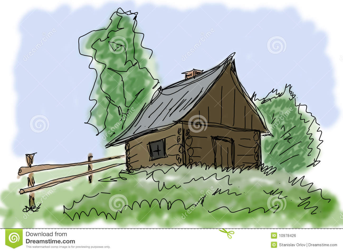 Small house in village stock illustration image of for Small house design village