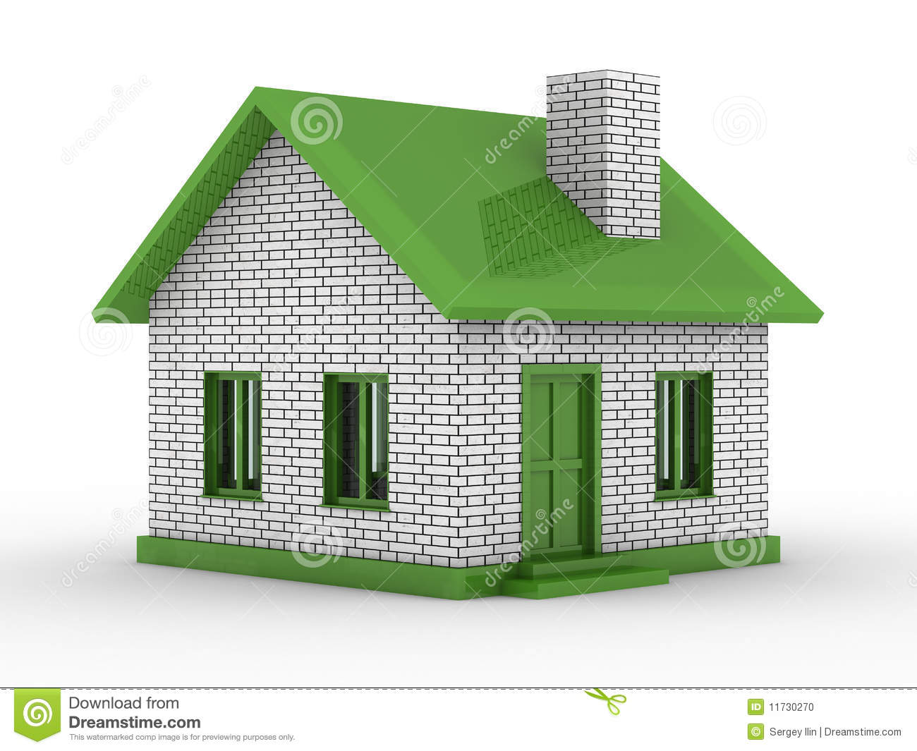 Download Small House On White Background Stock Illustration   Illustration  Of Green, Domestic: 11730270