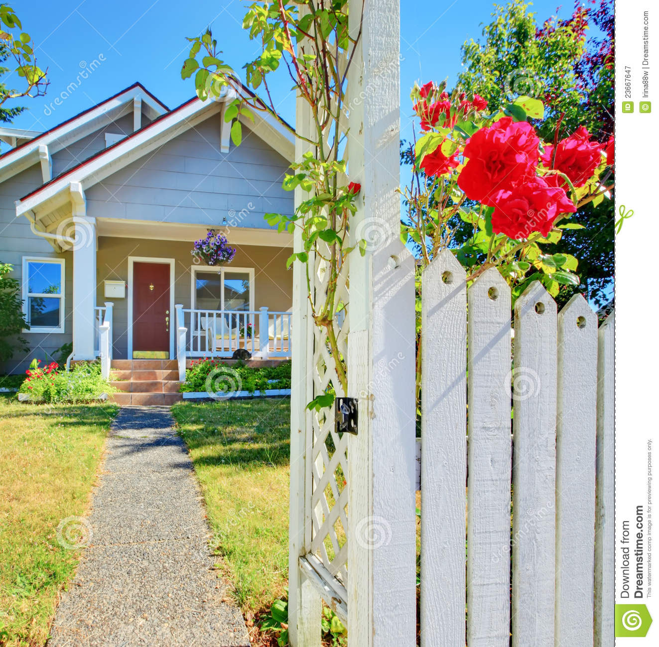 Red entrance door in front of residential house stock photo - Small House And White Fence With Roses Royalty Free Stock