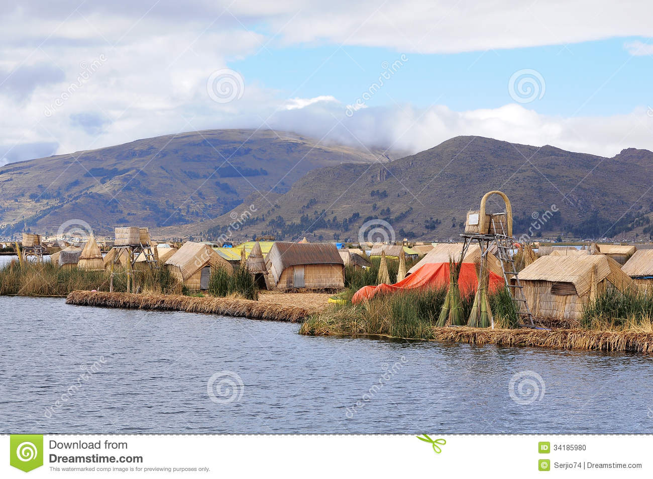 Small Houses On Uros Islands. Stock Photo - Image of latin, local: 34185980