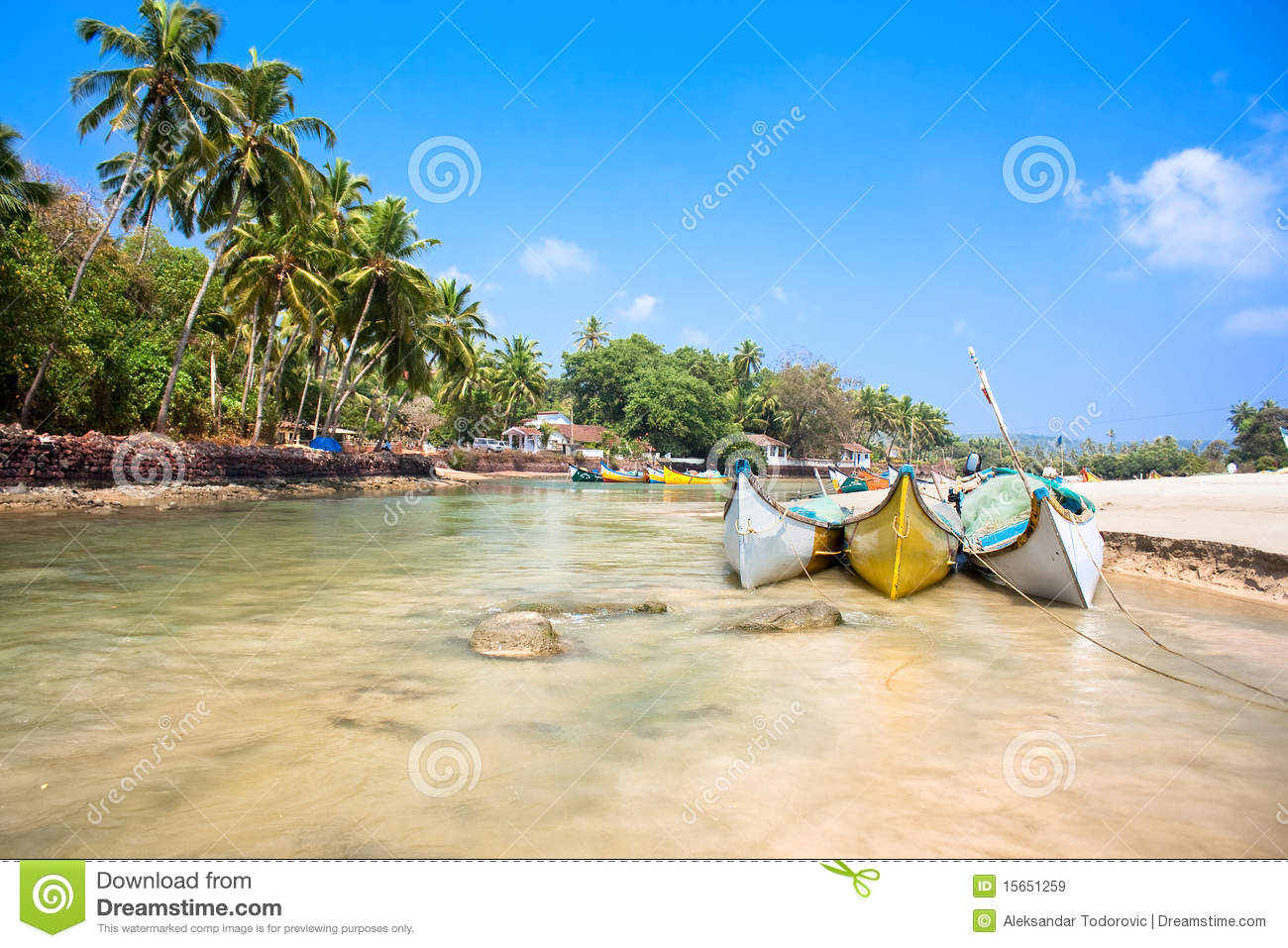 small indian river with fishing boats royalty free stock images