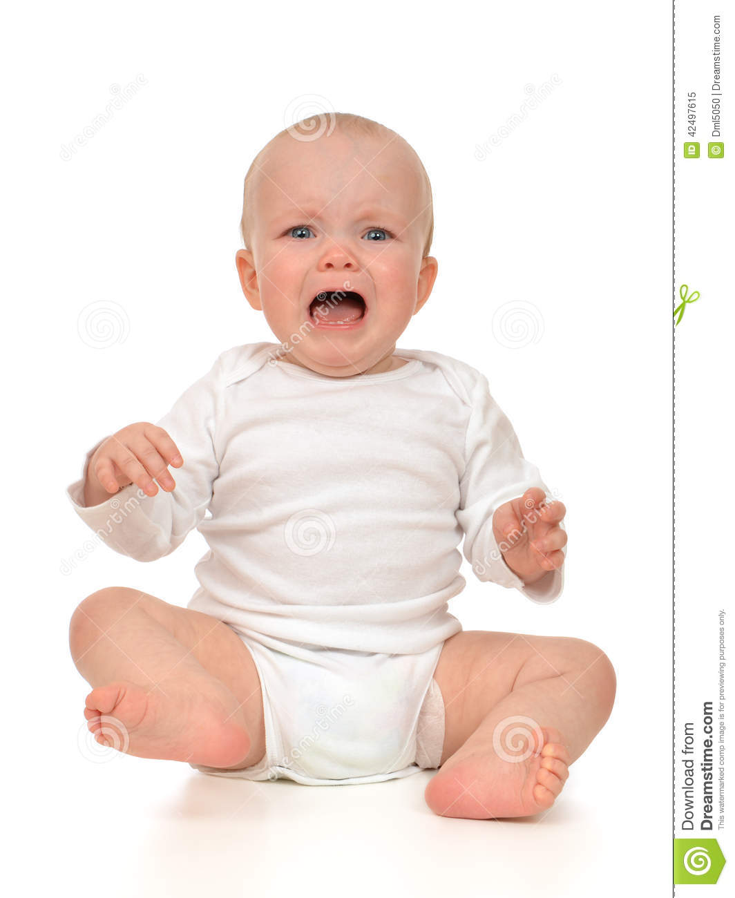 Small infant child baby girl toddler sad crying on a white background