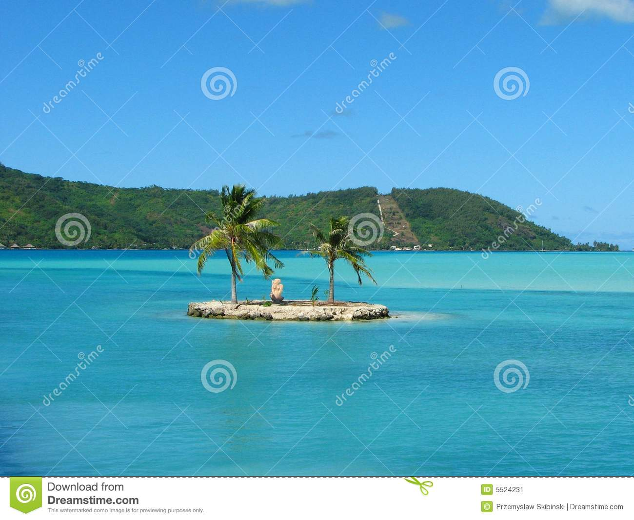 Small Island In Bora Bora French Polynesia Stock Image