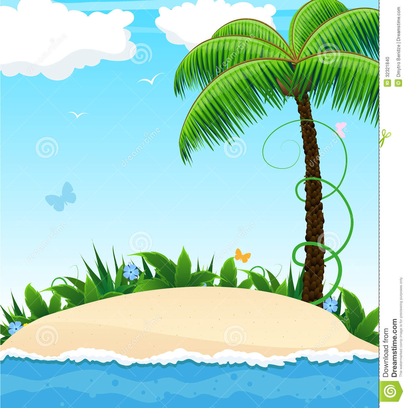 Palm Tree Island: Small Island With A Palm Tree Stock Vector