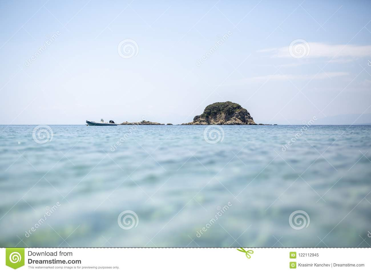 Small Island With Trees And Blue Sky And Crystal Water Stock Image ... 49731d013