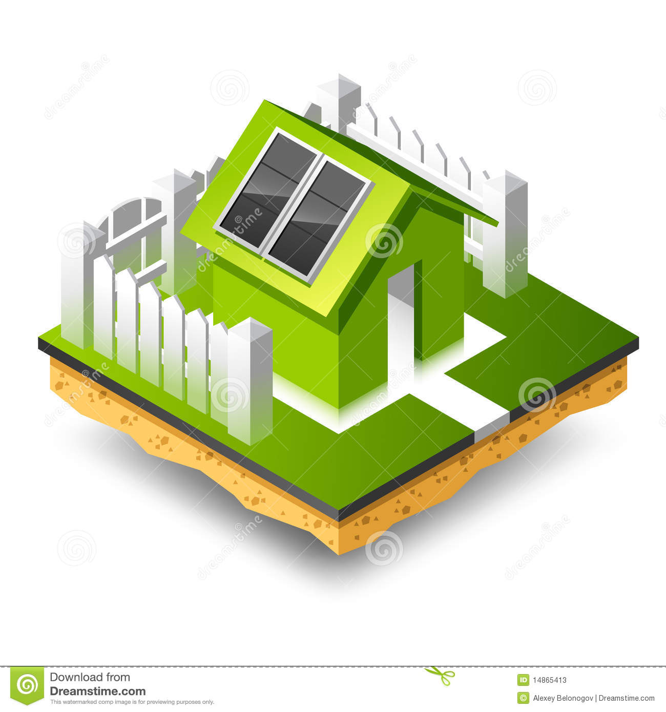 Small Isometric House With Solar Panel Stock Vector Illustration