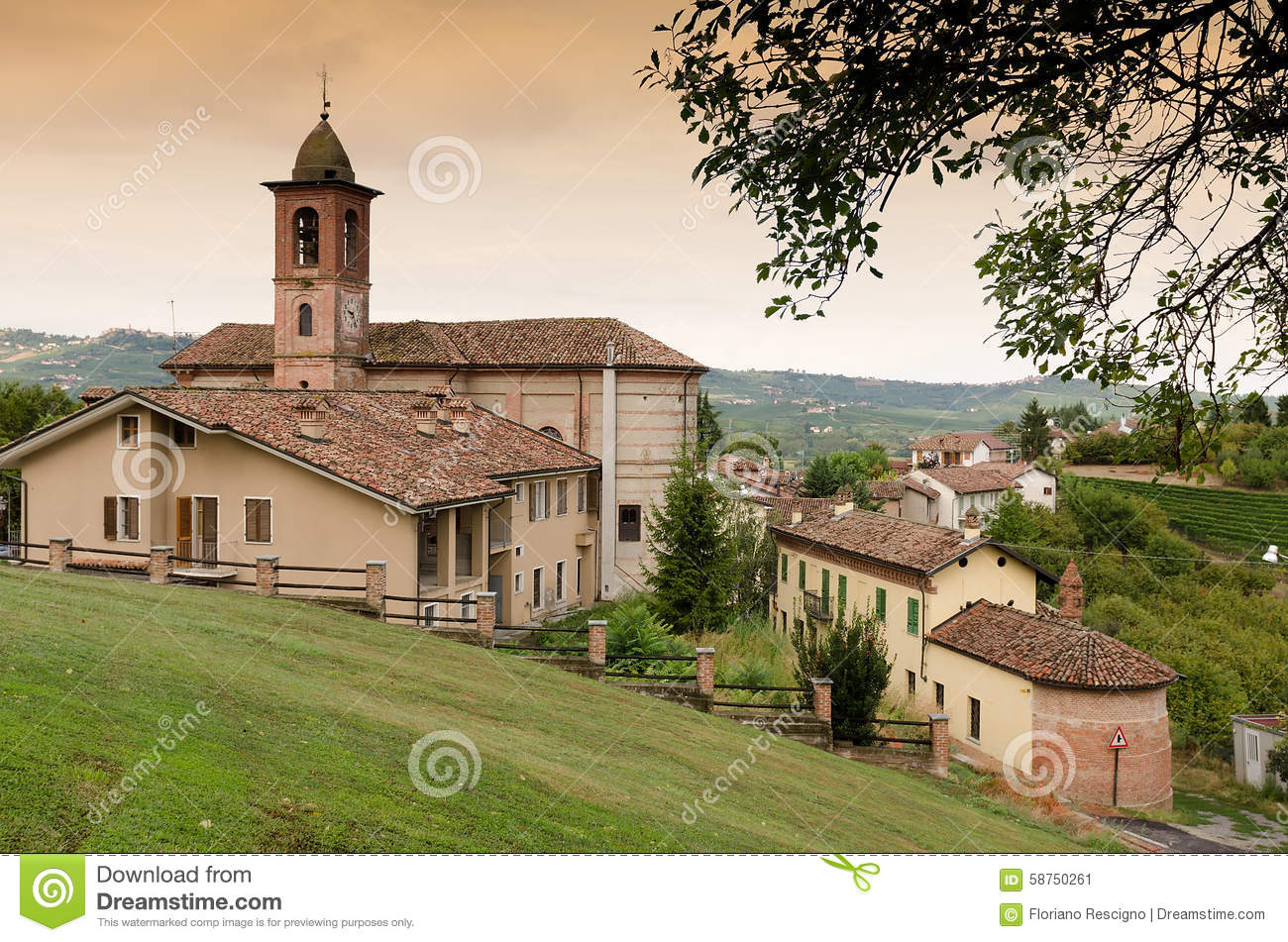 Small Italian village with church