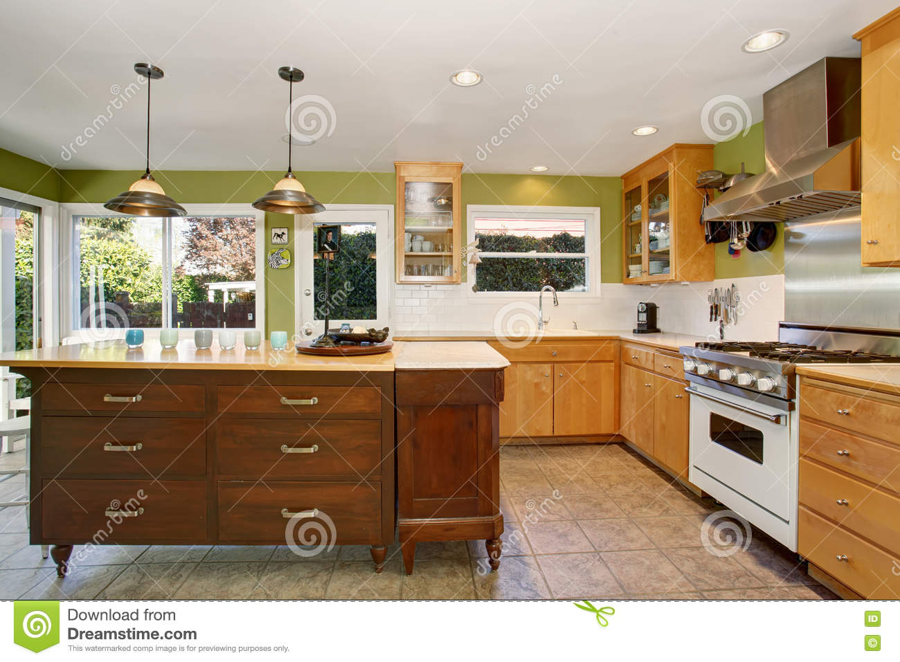 Small Kitchen Room Interior With Green Walls And Tile Floor Stock Photo Image Of House Steel 74365766