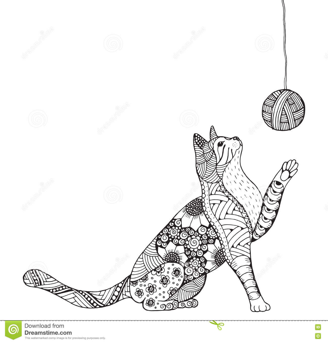 Small Kitten And Clew Of Thread Cat Playing Zentangle