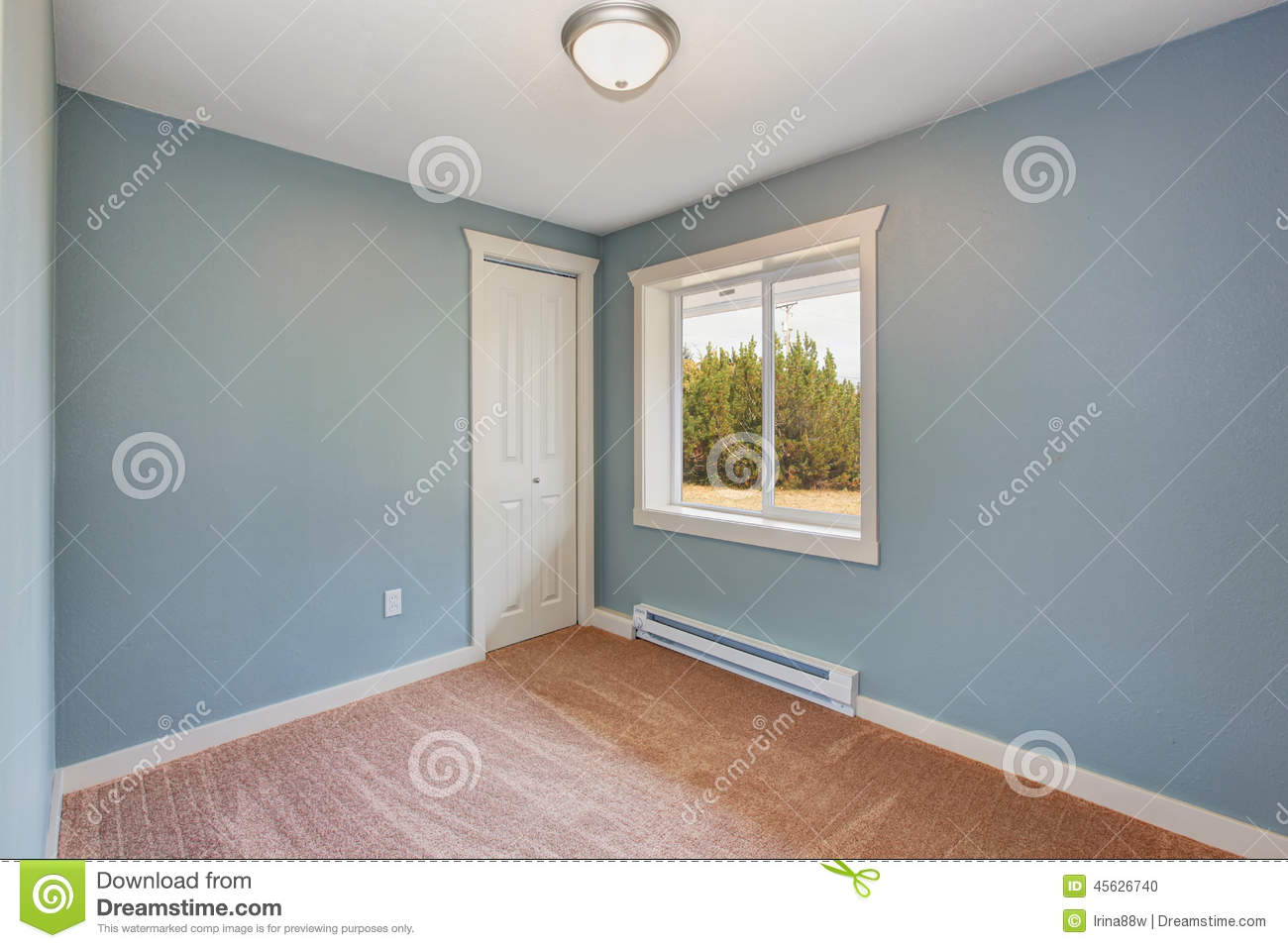 Small Light Blue Bedroom In Empty House Stock