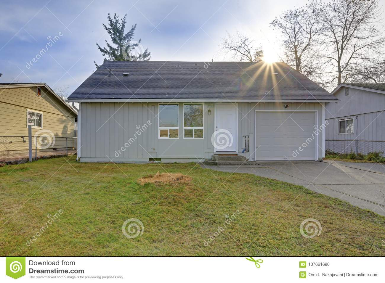 Small Light Grey One Level Home Exterior Stock Photo Image Of