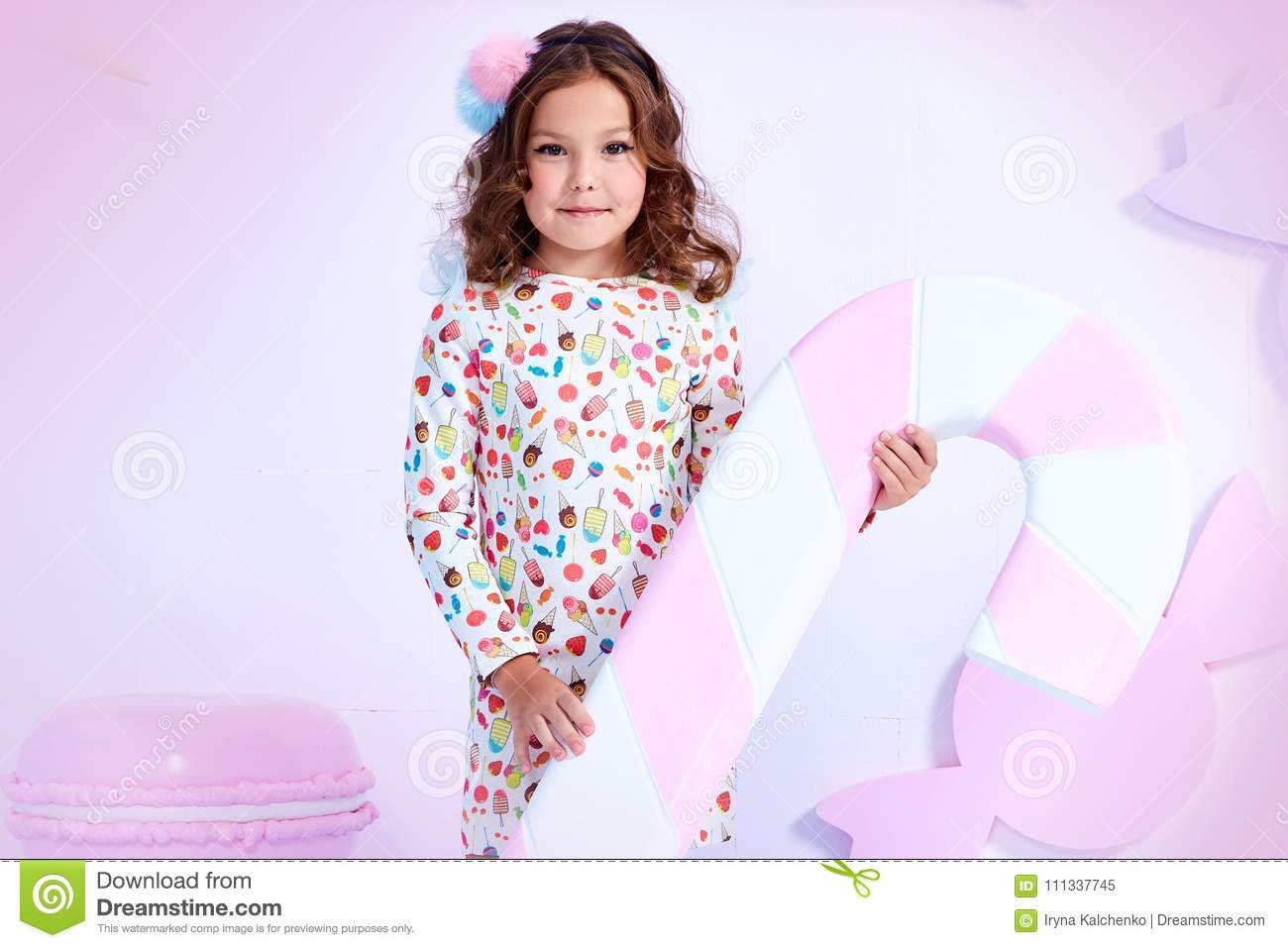 3b489c38189f Small little girl beautiful lady curly hair child wear funny clothes dress  socks boots cute face