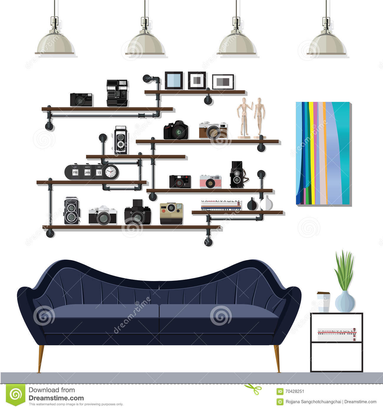 Small living room stock vector image 70428251 for Room design vector