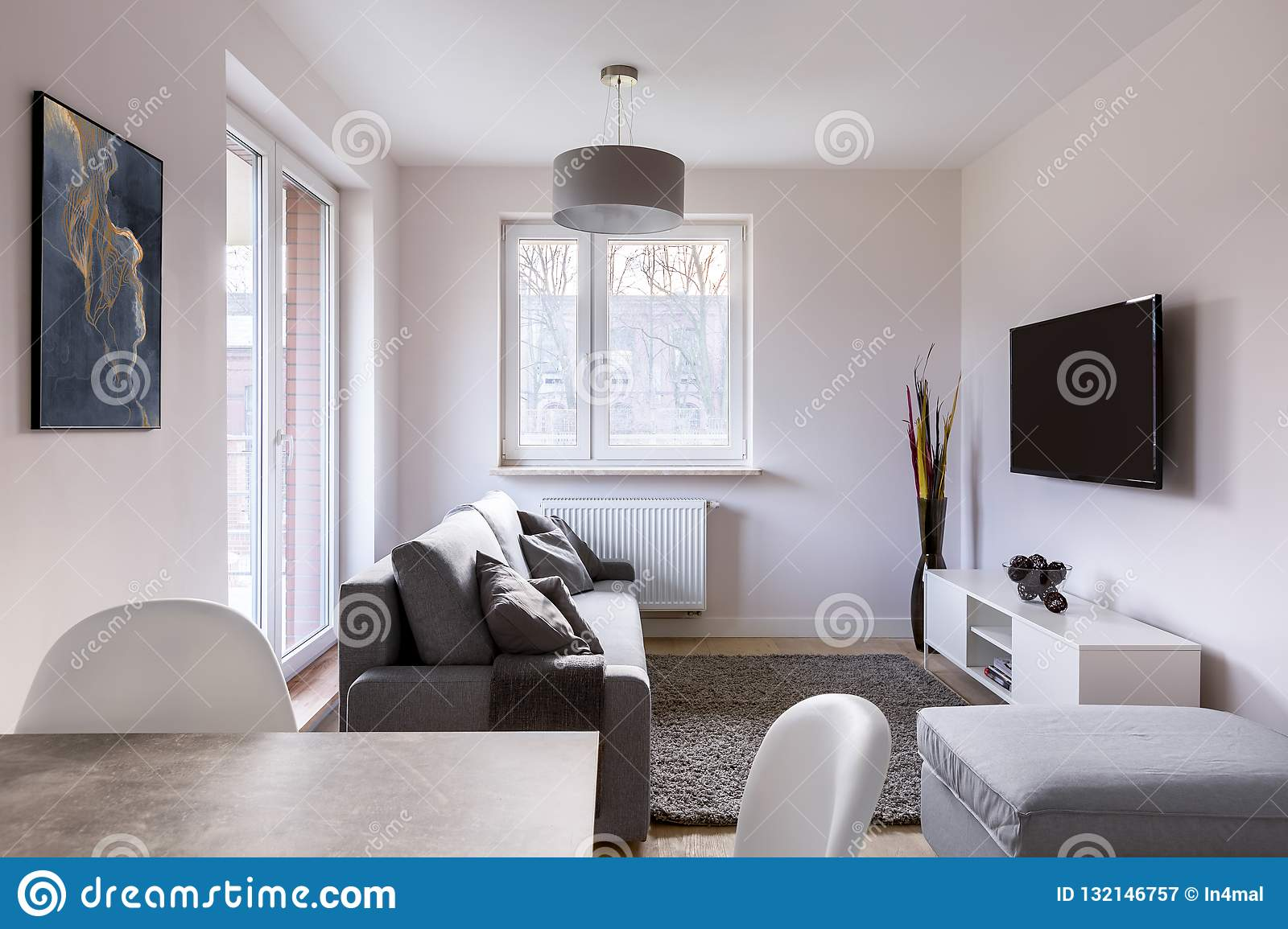 Living Room With Dining Table Stock Image Image Of Window Screen 132146757