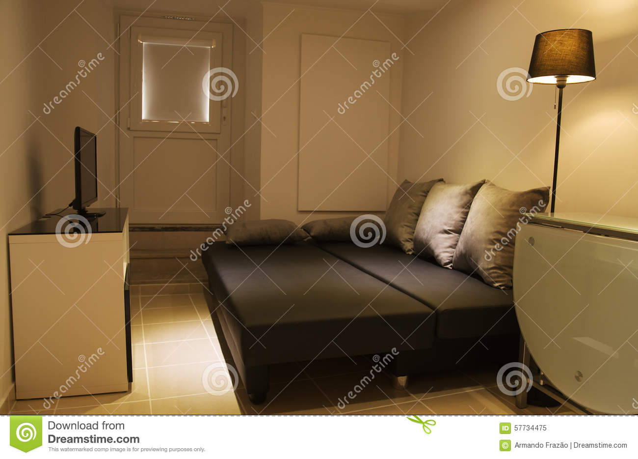 Small Living Room With Open Sofa Bed Stock Photo Image 57734475