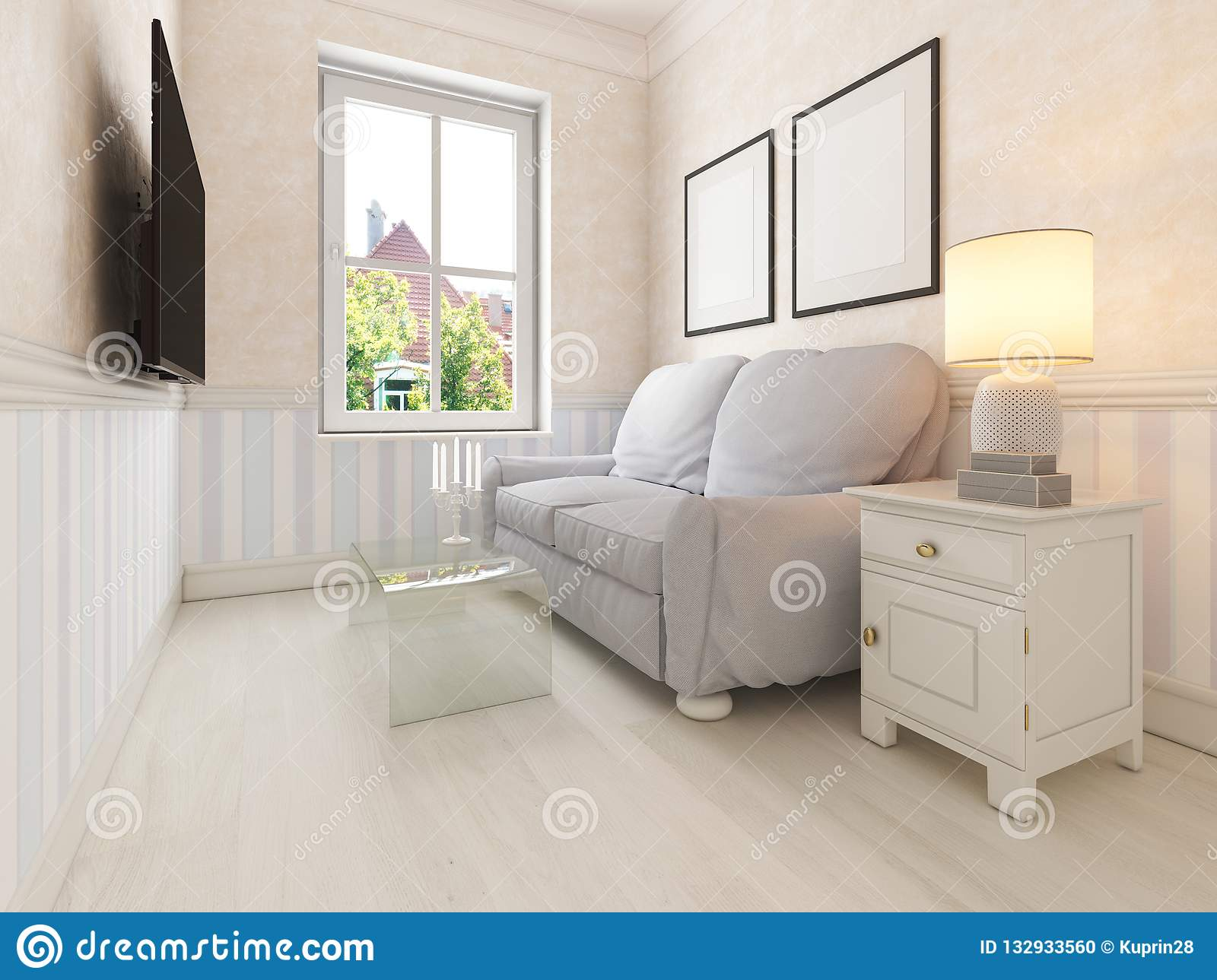 Small Living Room For Relaxing With A Sofa And Tv Stock