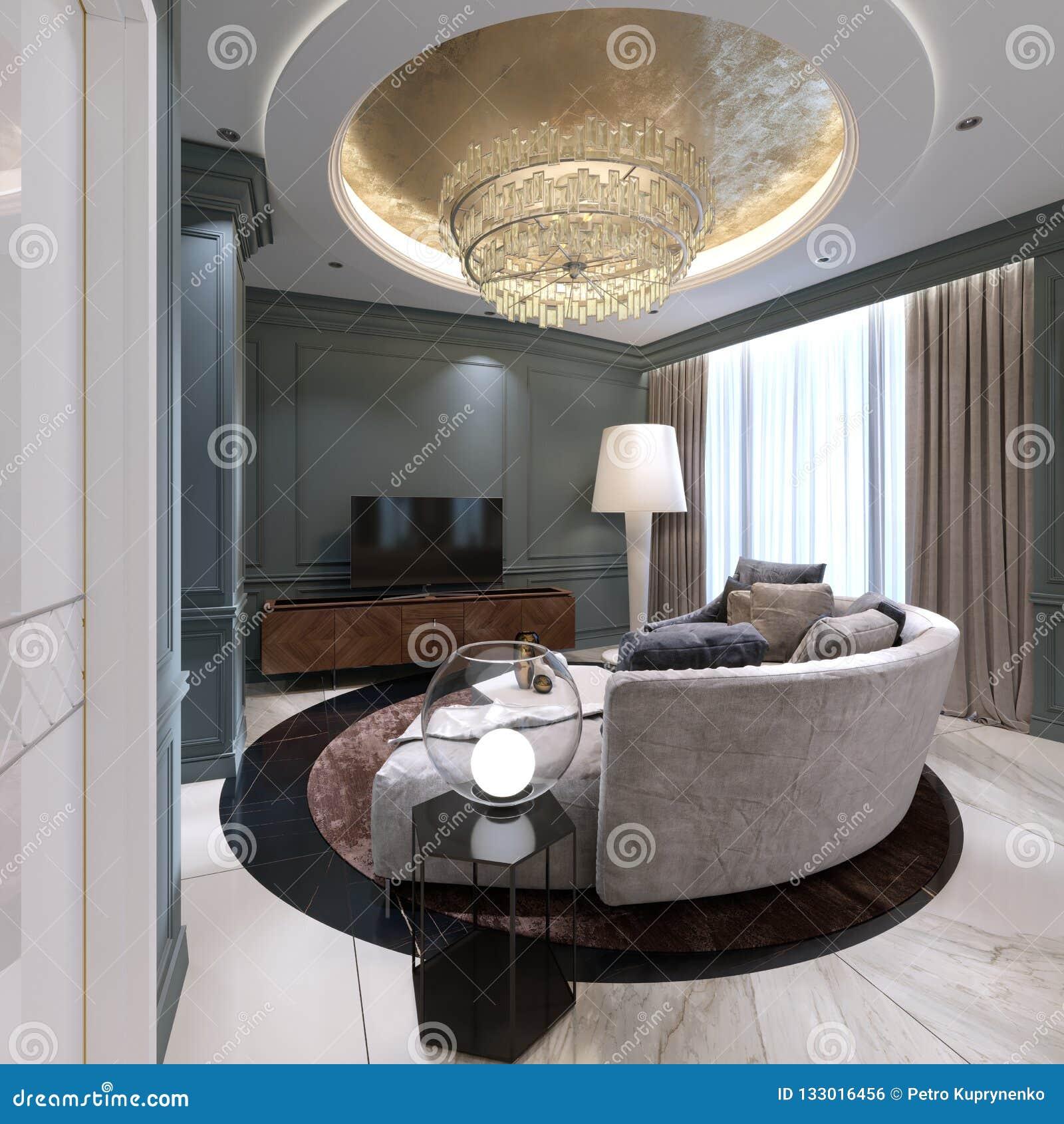 Semicircular Ktv Room Interior Design: A Small Living Room With A Semi-circular Sofa And A