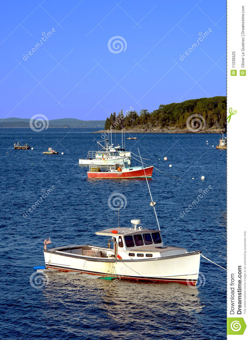 Small Lobster Fishing Boat In Maine Coast Bay Royalty Free Stock Photo - Image: 11036525