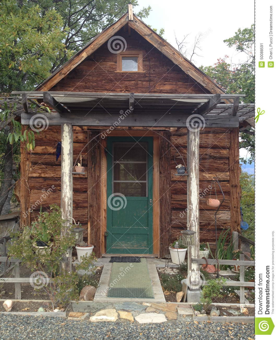 Small Log Cabin On Mountain Stock Photo Image 50088591